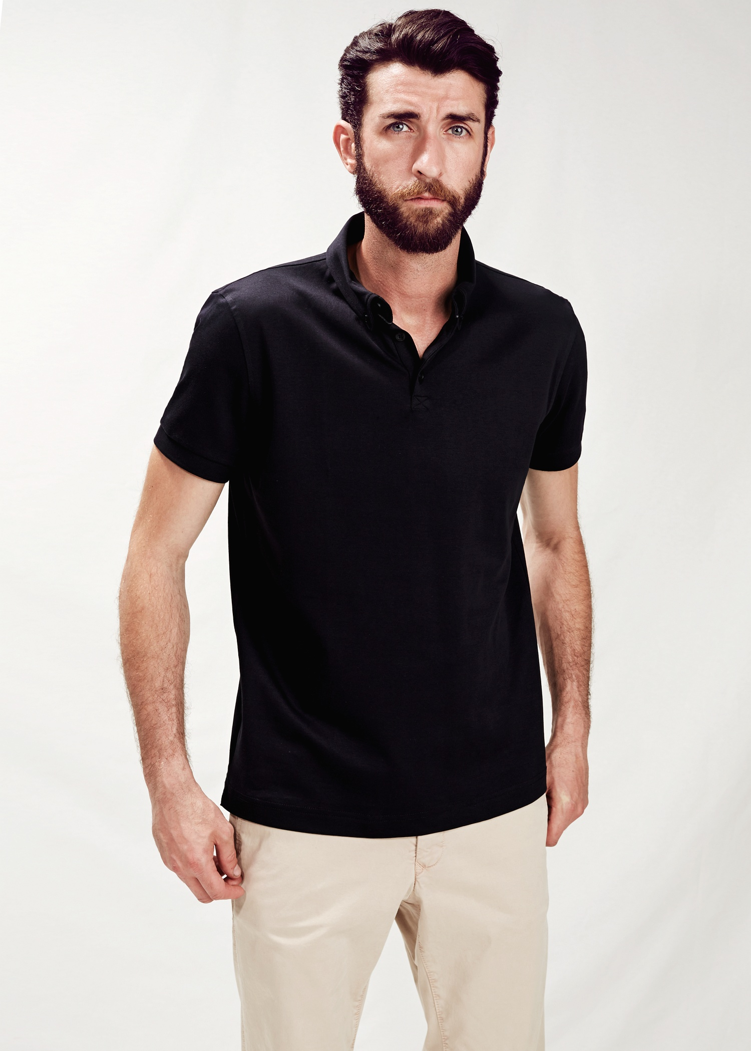 Lyst mango button down collar polo shirt in black for men for Man in polo shirt