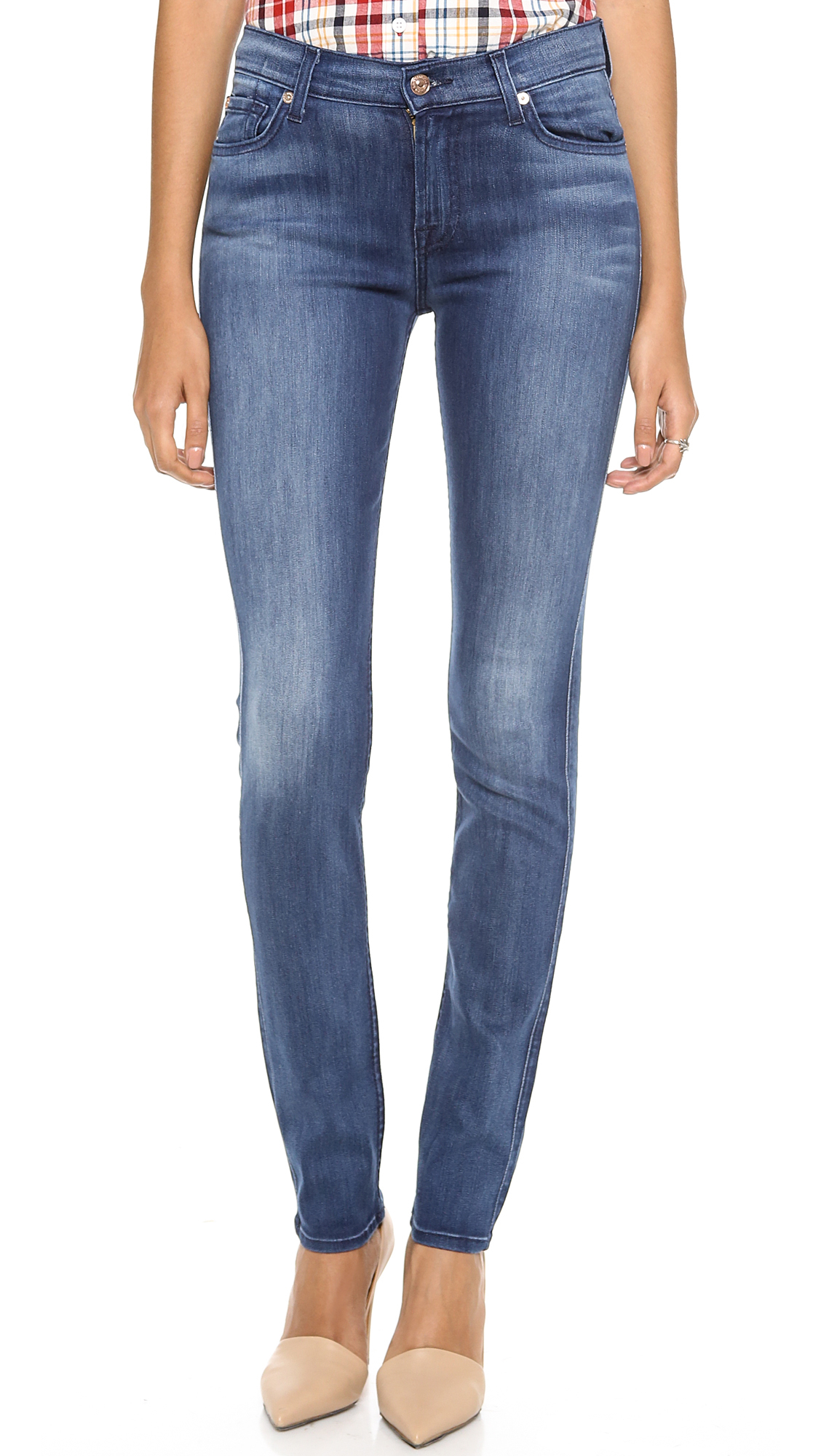 lyst 7 for all mankind high rise roxanne jeans in blue. Black Bedroom Furniture Sets. Home Design Ideas