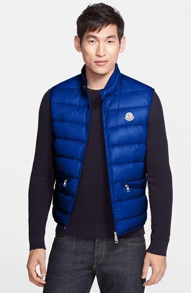 Moncler Gui Quilted Goose Down Vest In Blue For Men