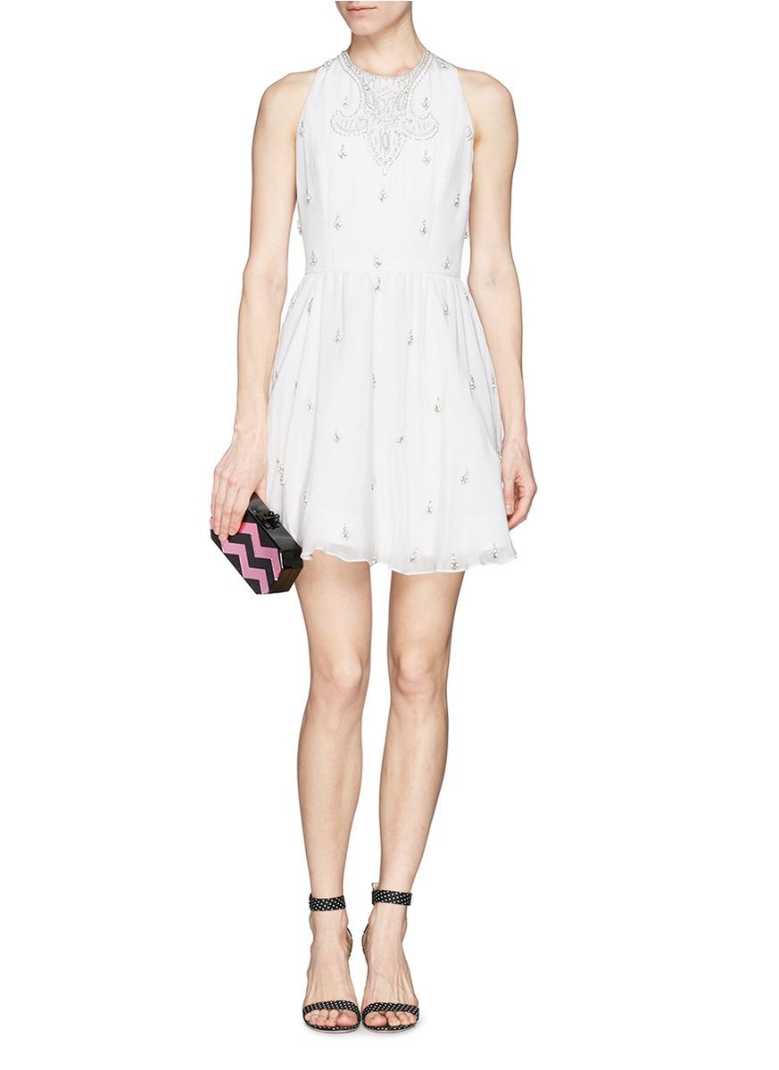 707f315504f Lyst - Alice + Olivia  Gilda  Embellished Lace Back Skater Dress in ...