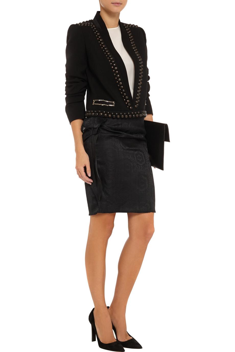 isabel marant kristy ruffled silk jacquard mini skirt in black lyst. Black Bedroom Furniture Sets. Home Design Ideas