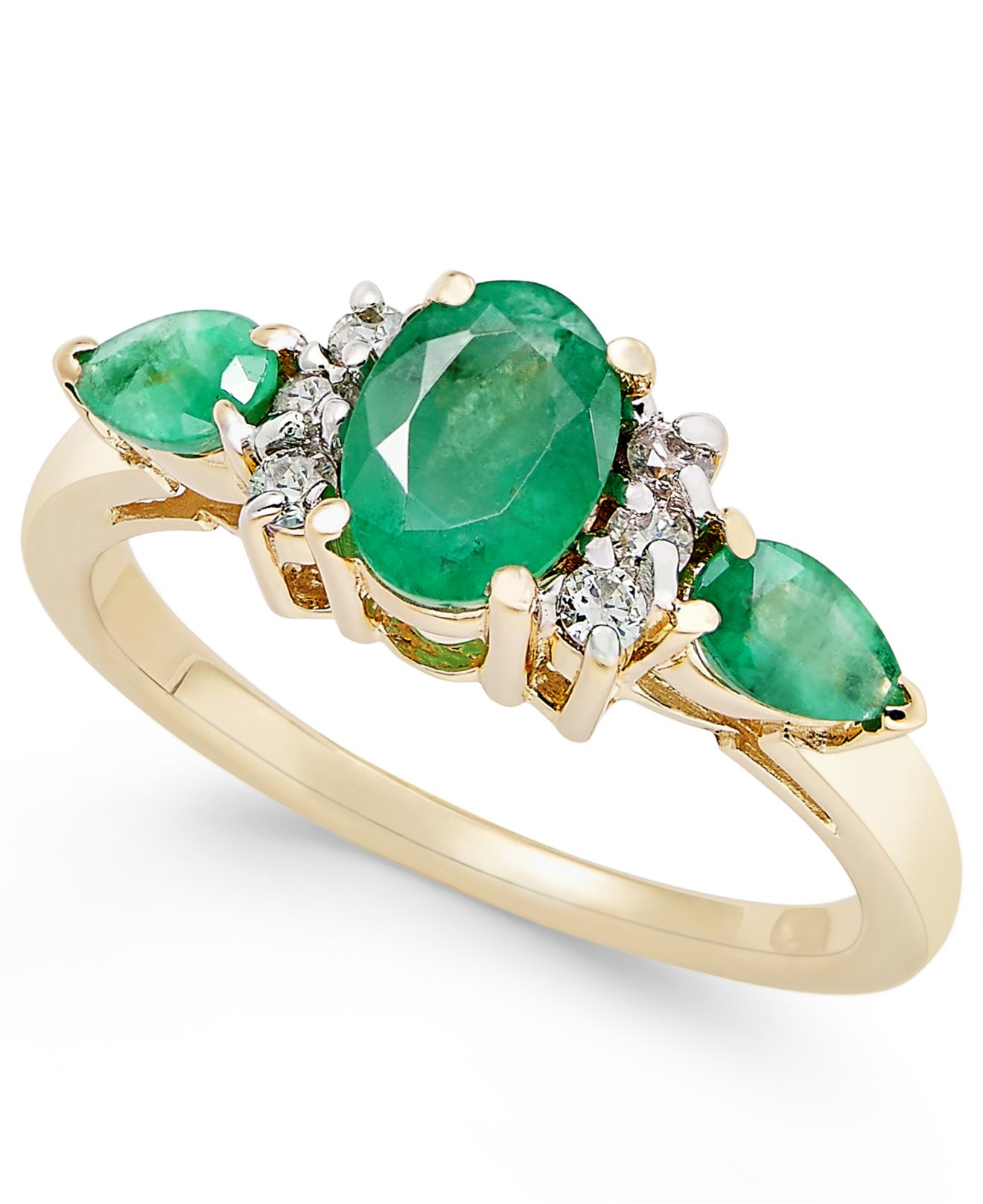 Macy s Emerald 1 1 4 Ct T w And Diamond 1 8 Ct T w Ring In 14k Go