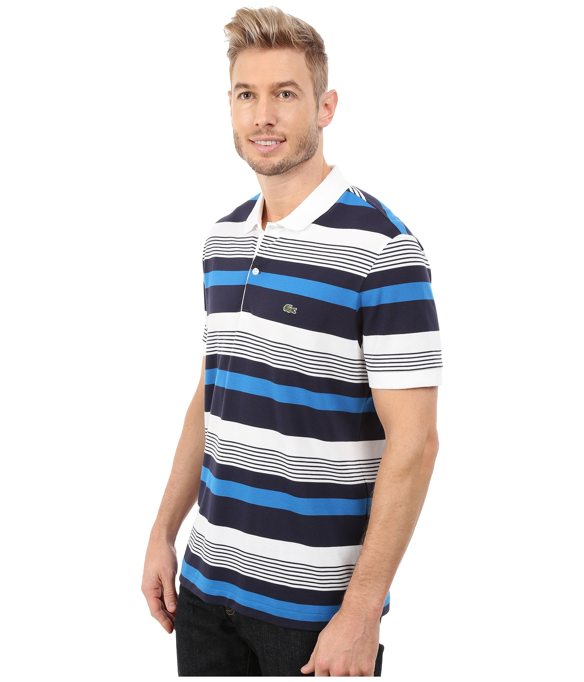 Lacoste short sleeve pique stripe polo in blue for men lyst for Lacoste stripe pique polo shirt