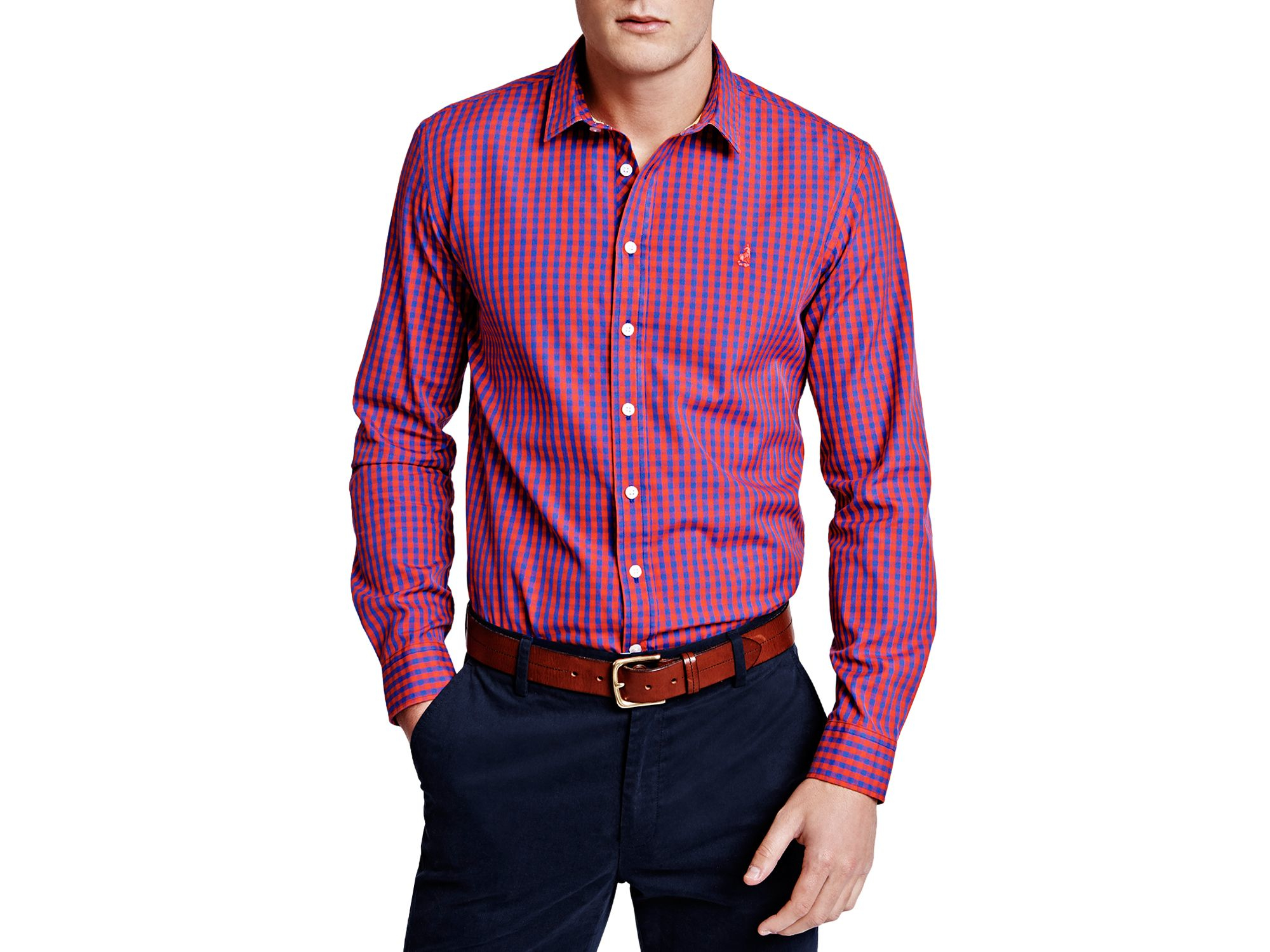 Lyst - Thomas pink Evenson Check Slim Fit Button Down Shirt in ...