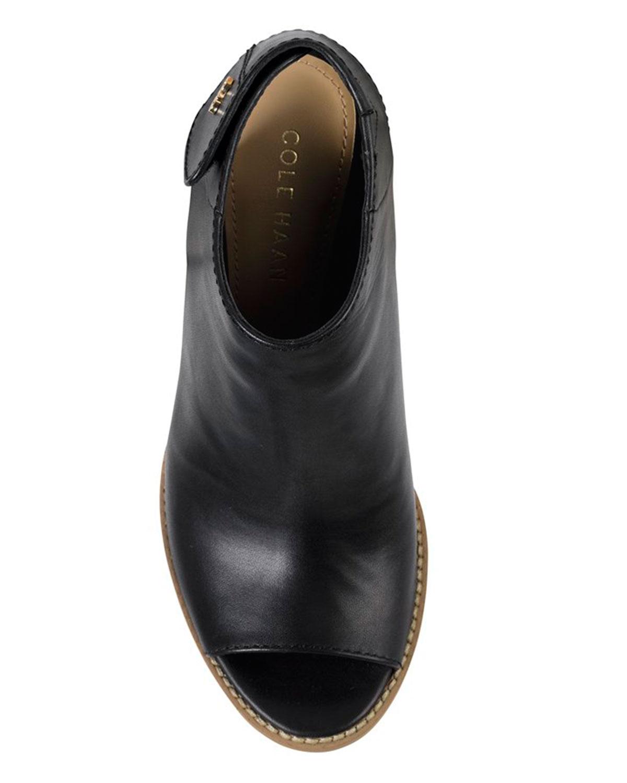 Cole Haan Wrey Peep Toe Leather Bootie In Black Lyst