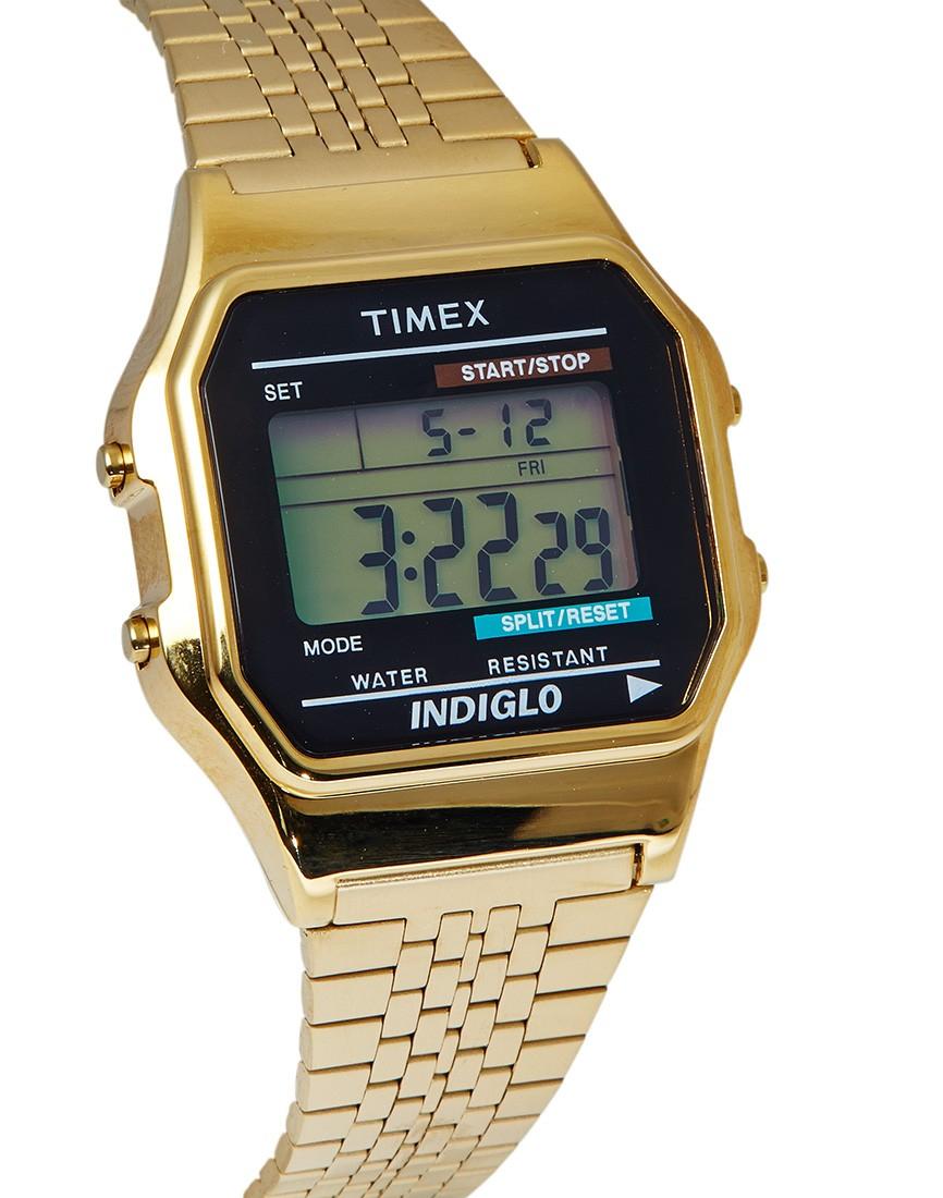 timex classic digital goldtone bracelet in metallic