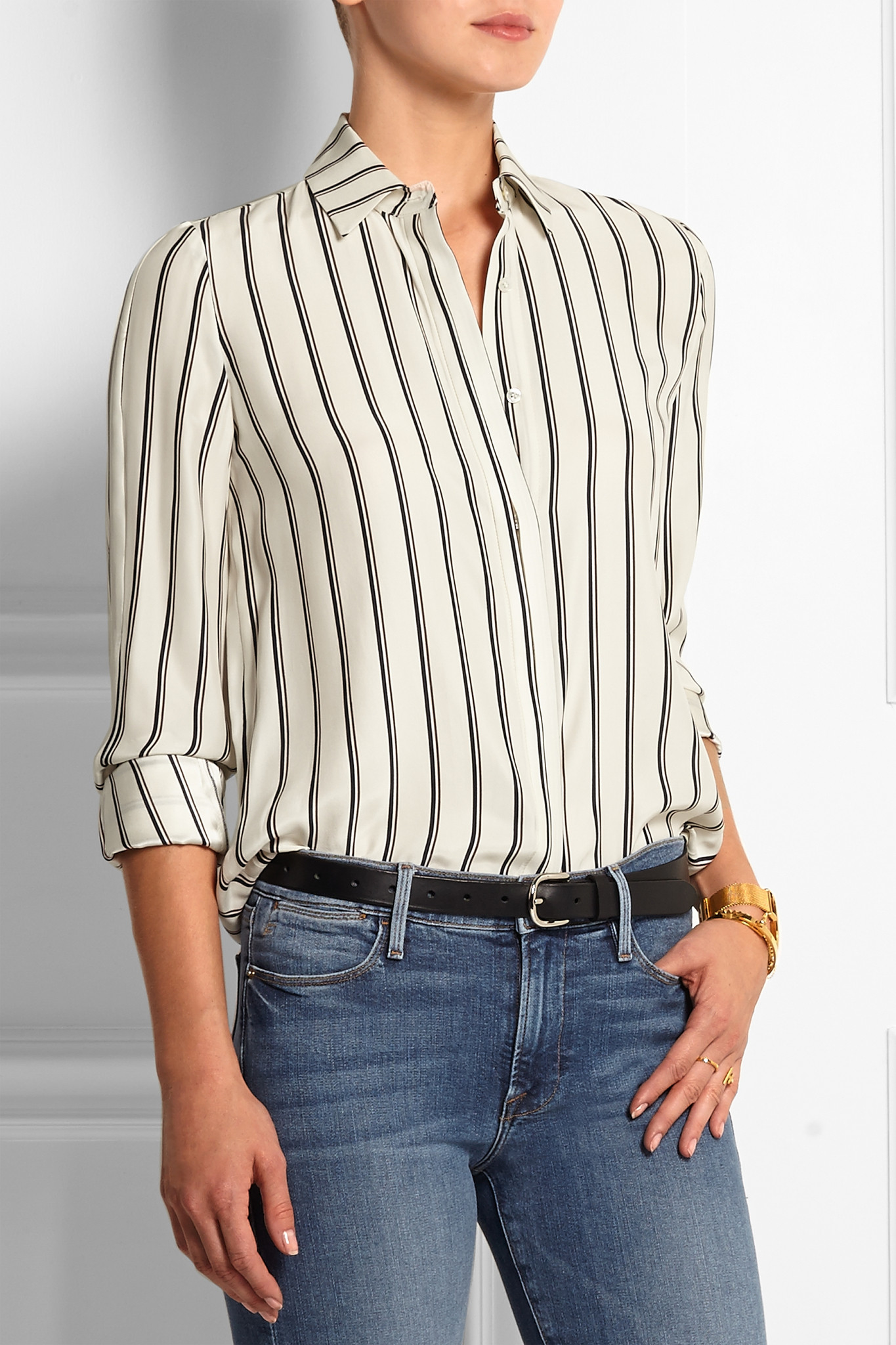 bcd6100586a7f9 FRAME Le Classic Striped Washed Silk-charmeuse Shirt in White - Lyst