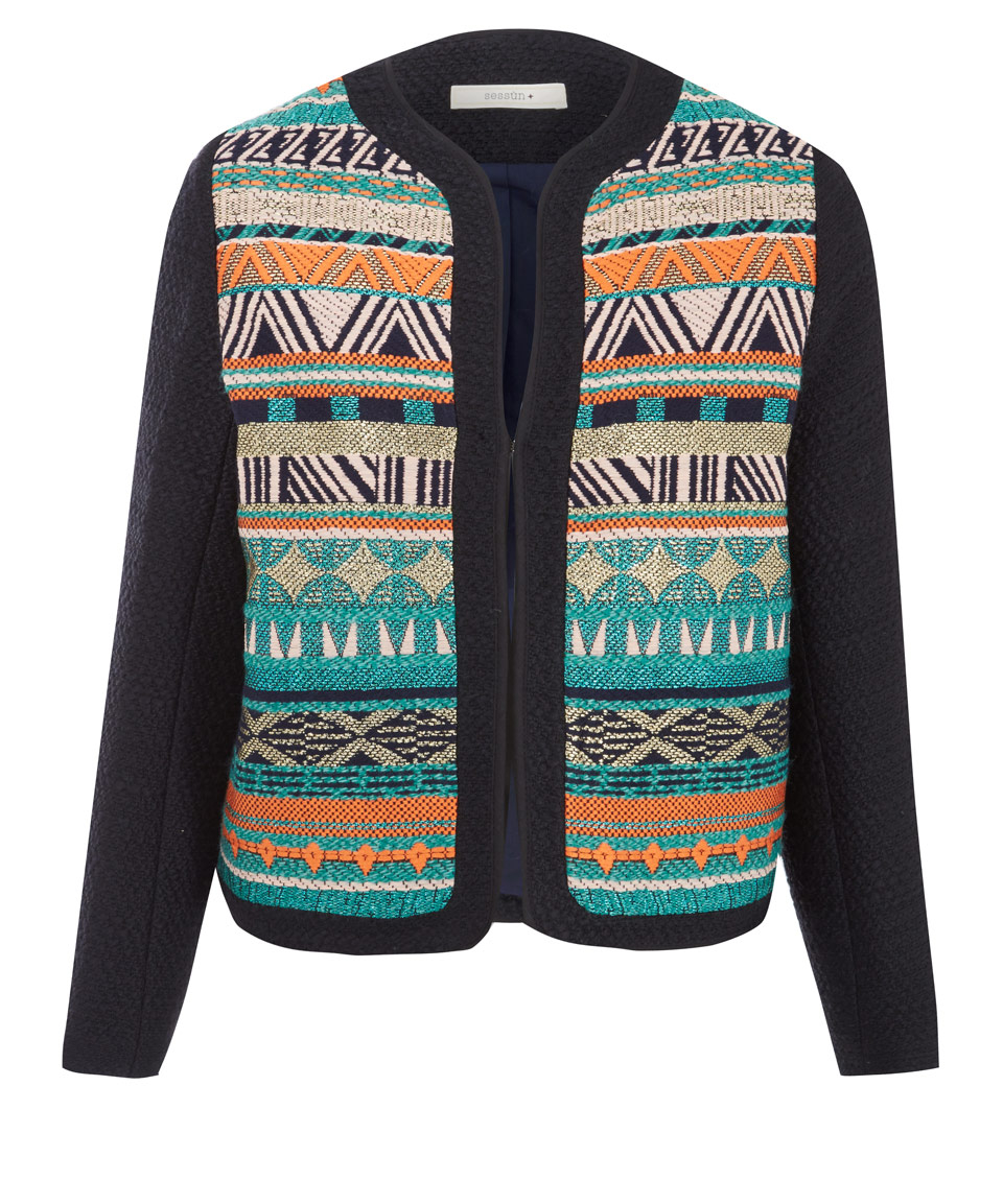 Lyst Sessun Navy Kent Stripe Aztec Jacquard Knit Jacket
