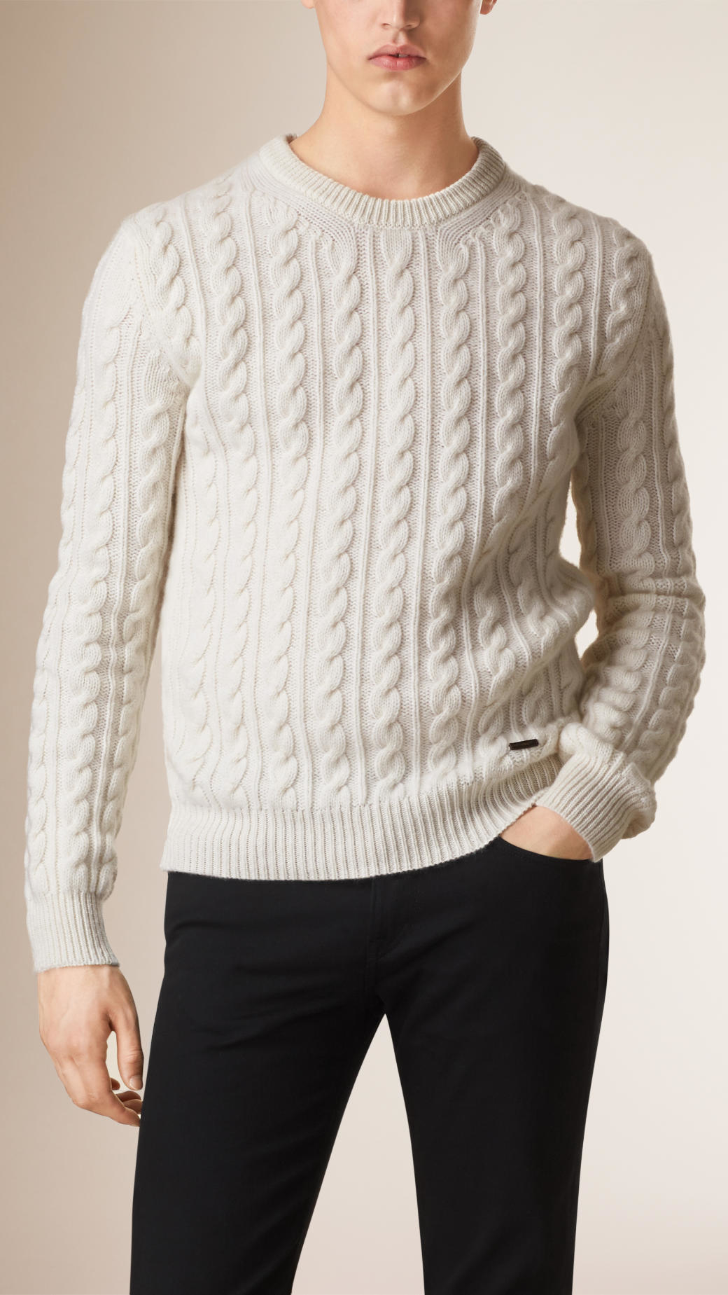 Burberry Cable Knit Wool Cashmere Sweater Natural in Natural for ...