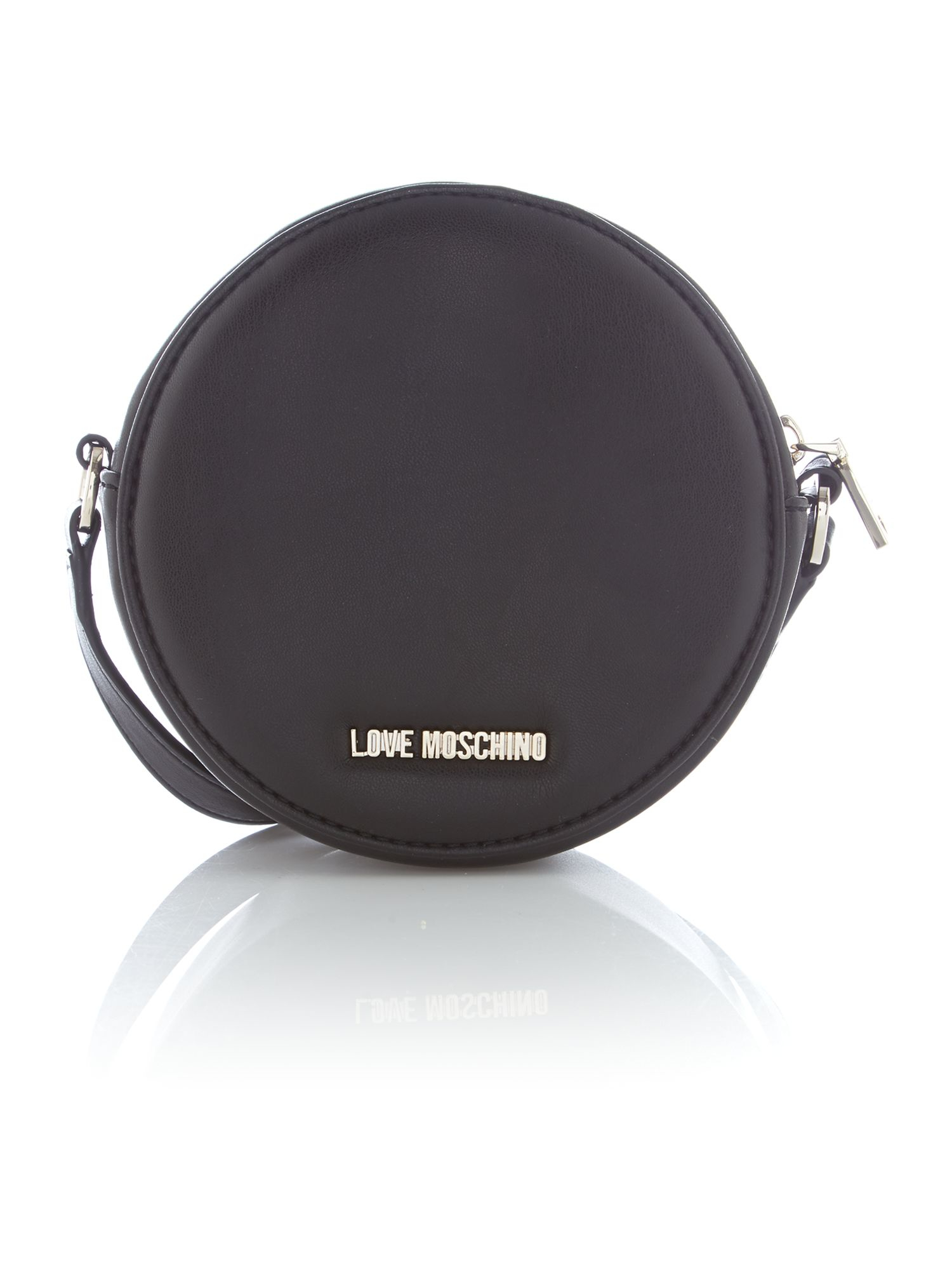 Love Moschino Quilted Heart Black Round Crossbody Bag