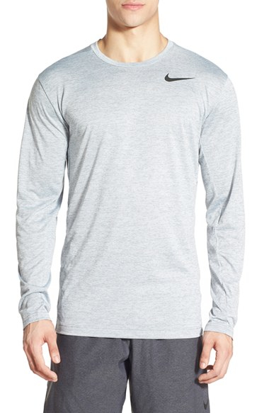 Nike long sleeve dri fit training t shirt in black for men for Under armour dri fit long sleeve shirts