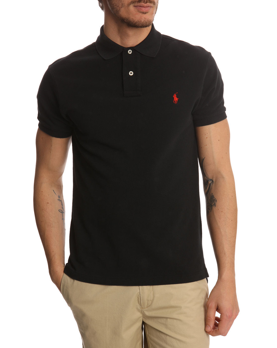 Polo ralph lauren slim fit black polo shirt in black for Man in polo shirt