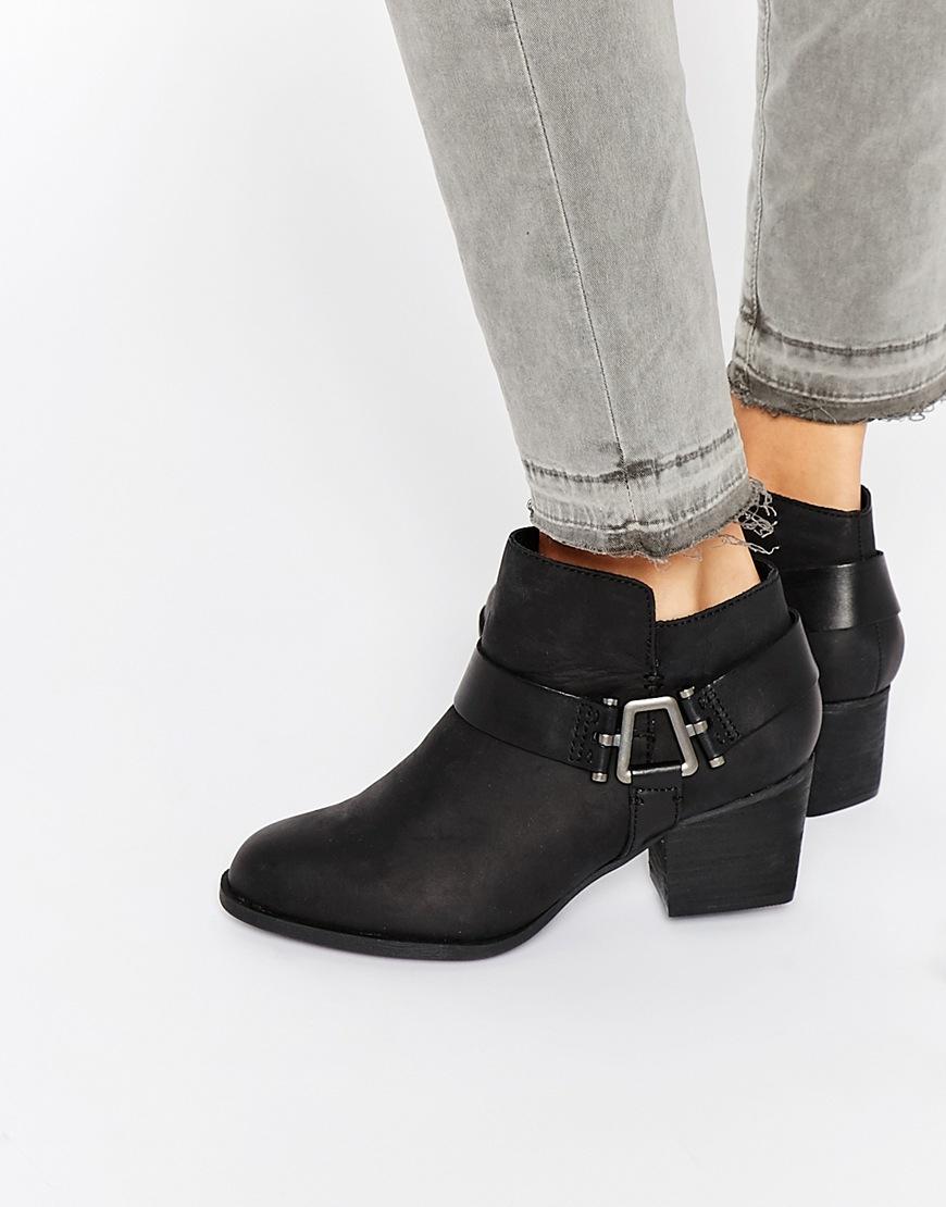 aldo arielle black harness heeled boots in black lyst