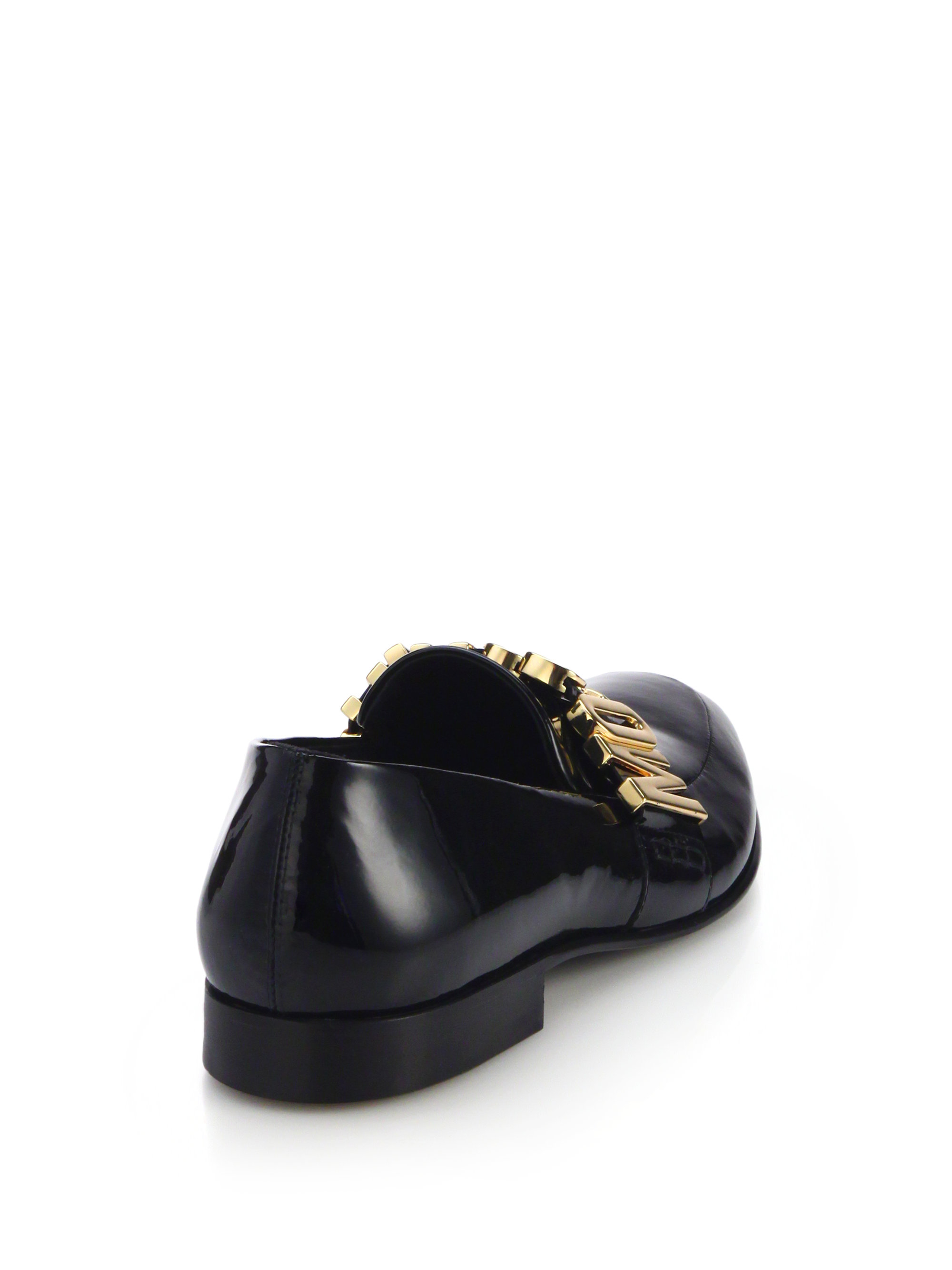 Lyst Moschino Logo Patent Leather Loafers In Black