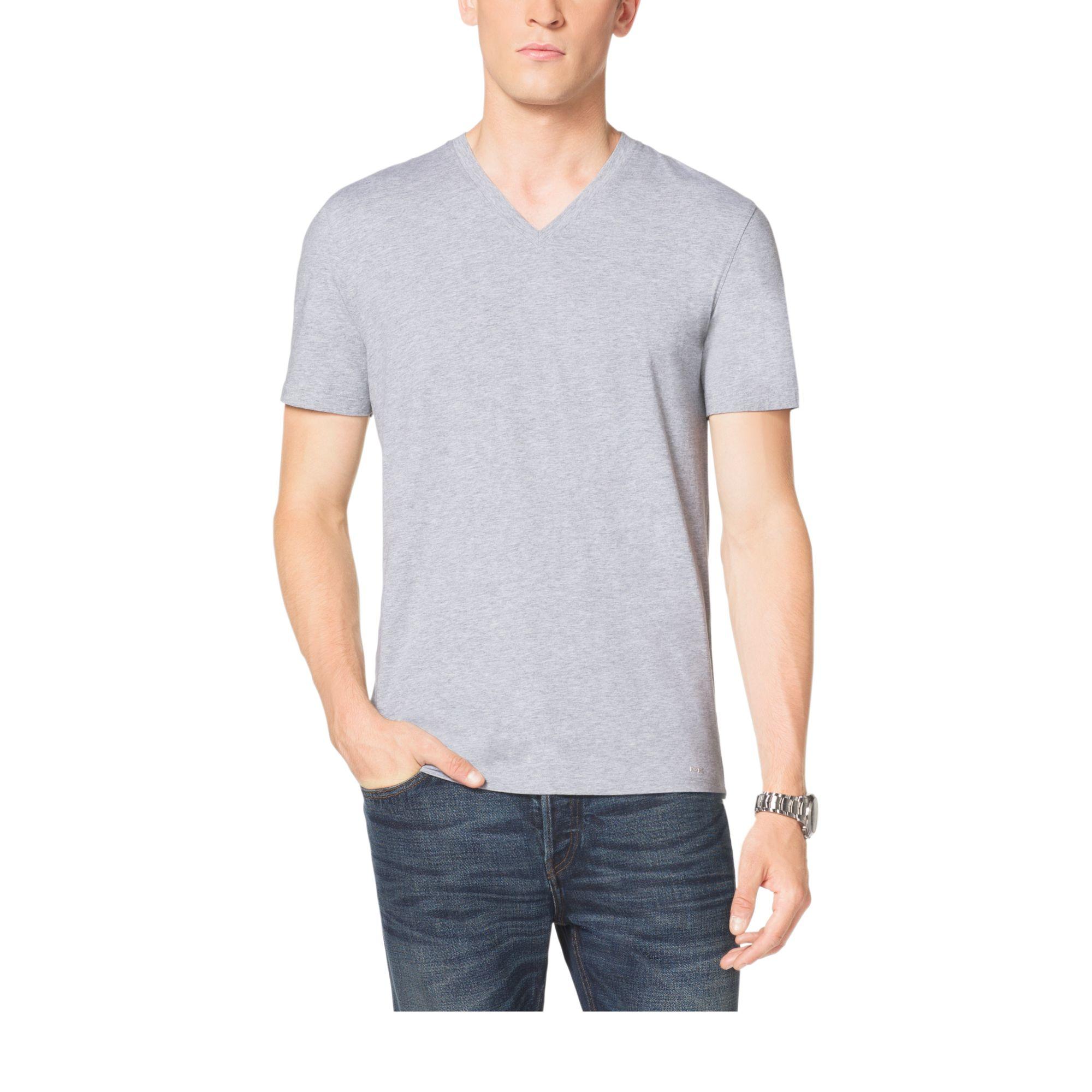 michael kors v neck cotton t shirt in gray for men. Black Bedroom Furniture Sets. Home Design Ideas