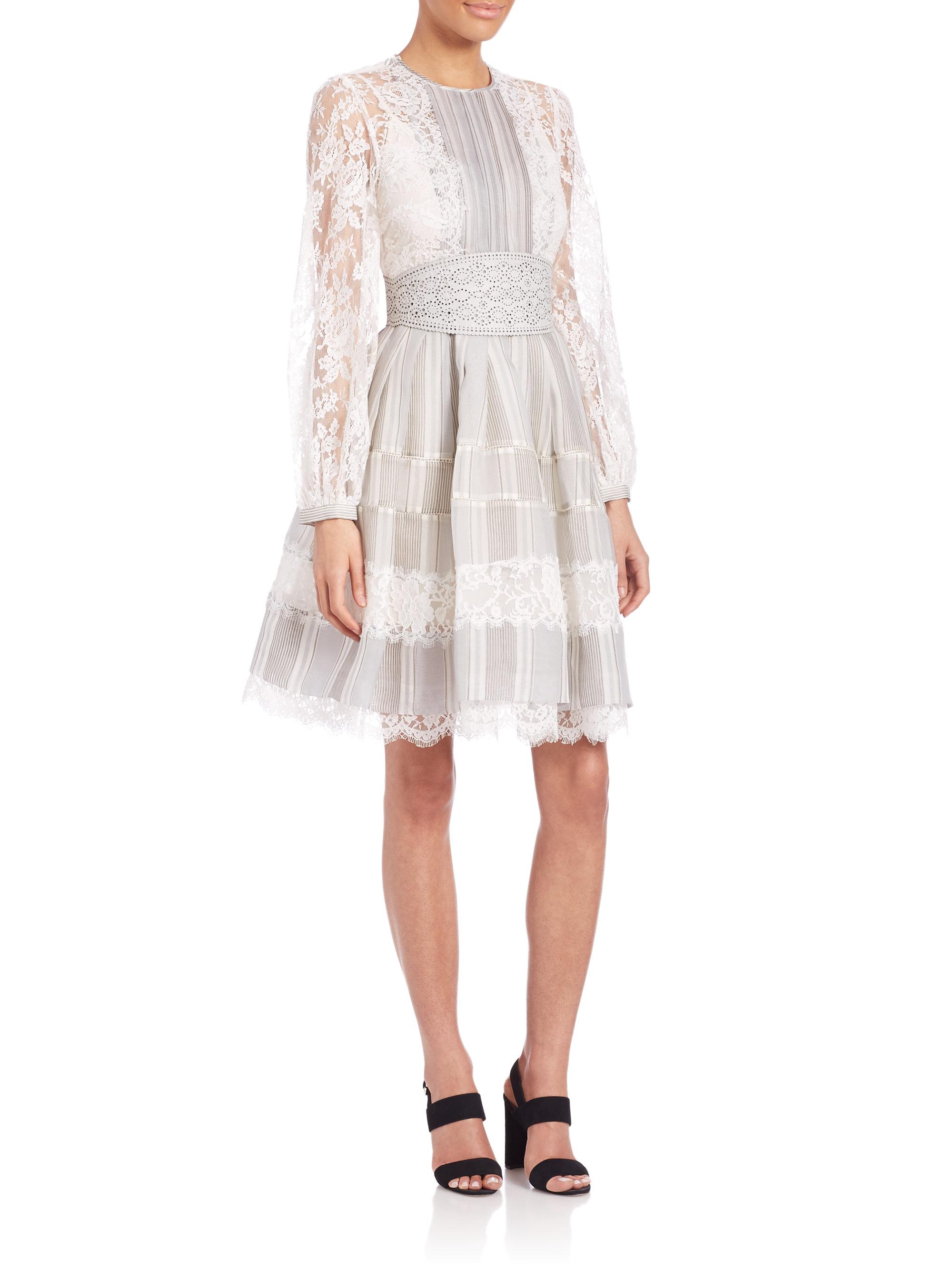 Havoc Ticking Lace Dress In Ash Stripe
