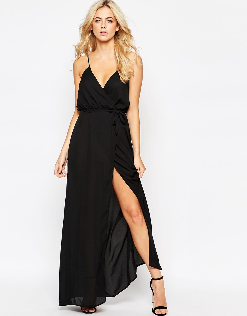 Love Plunge Wrap Front Maxi Dress With Tie In Black Lyst