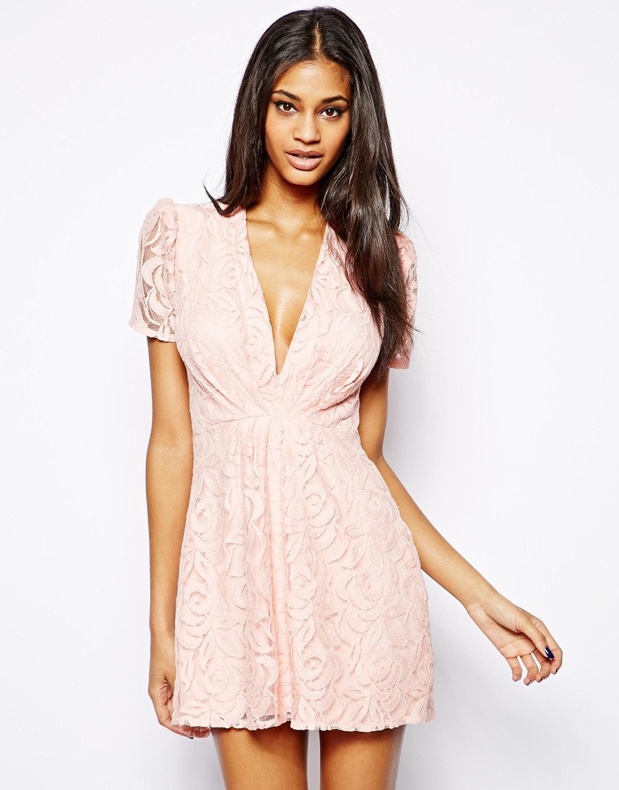 John Zack Lace Dress With V Neck In Pink