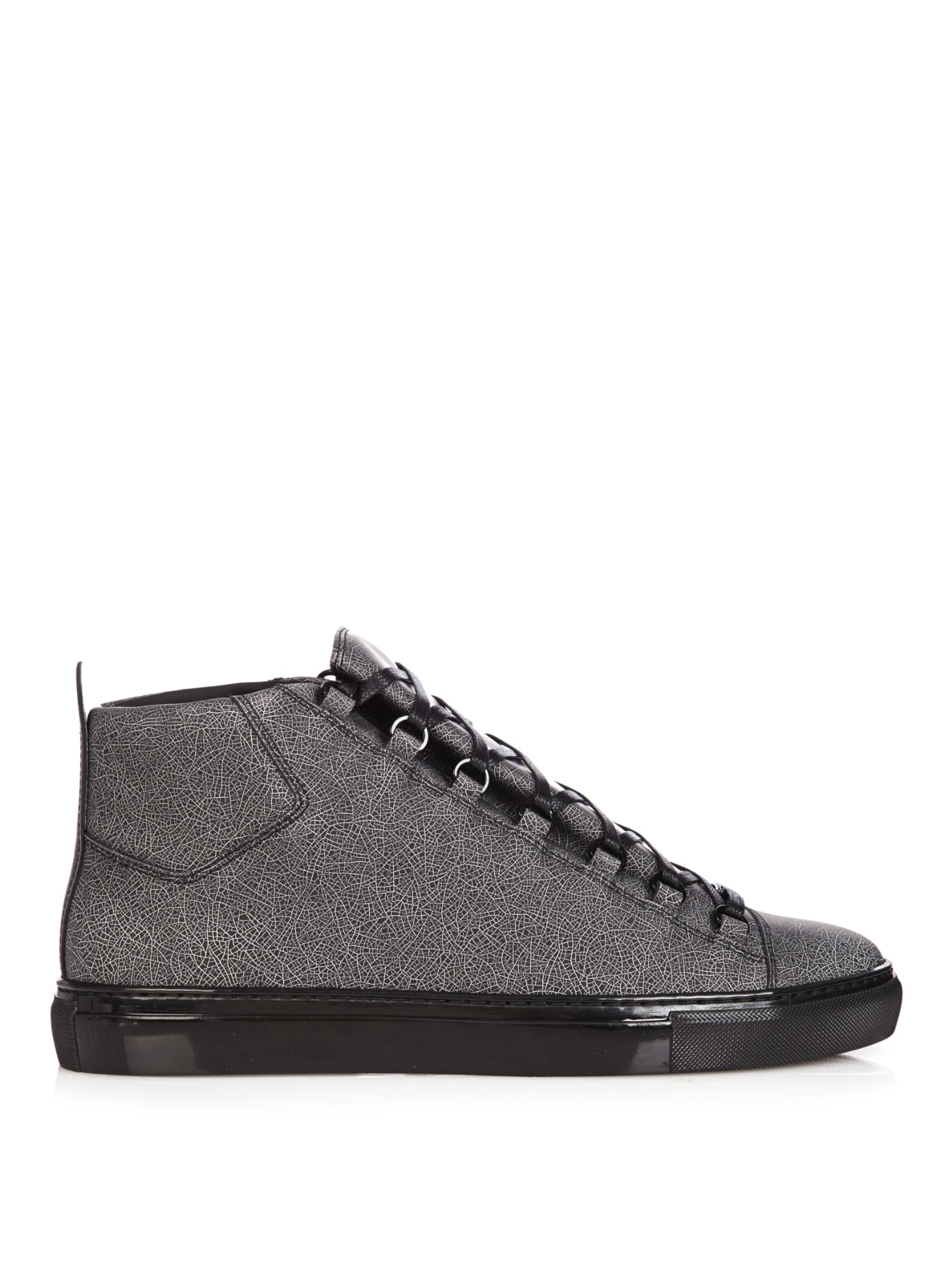 f7a088a80a64e Balenciaga Arena Cracked-Print High-Top Trainers in Gray for Men - Lyst