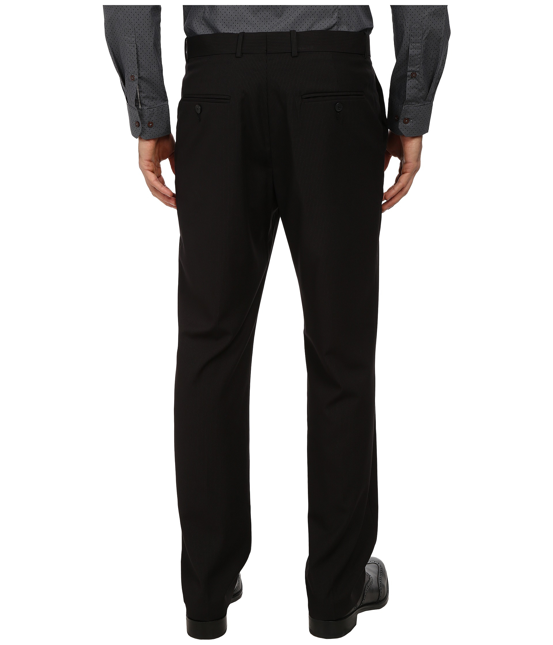 Perry ellis Pinstripe Dress Pant in Black for Men | Lyst