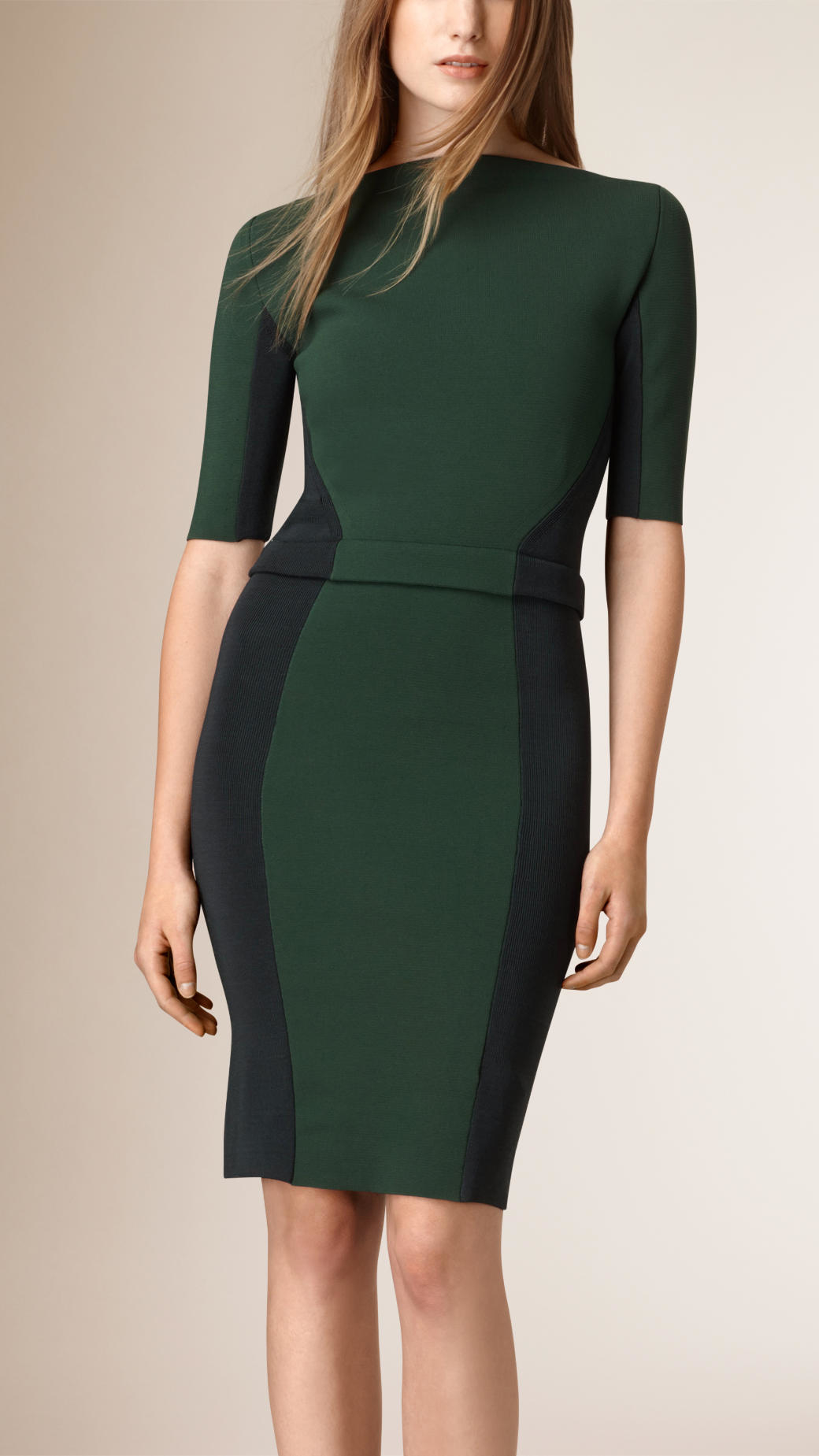 Paneled stretch dress in color block dresses for women