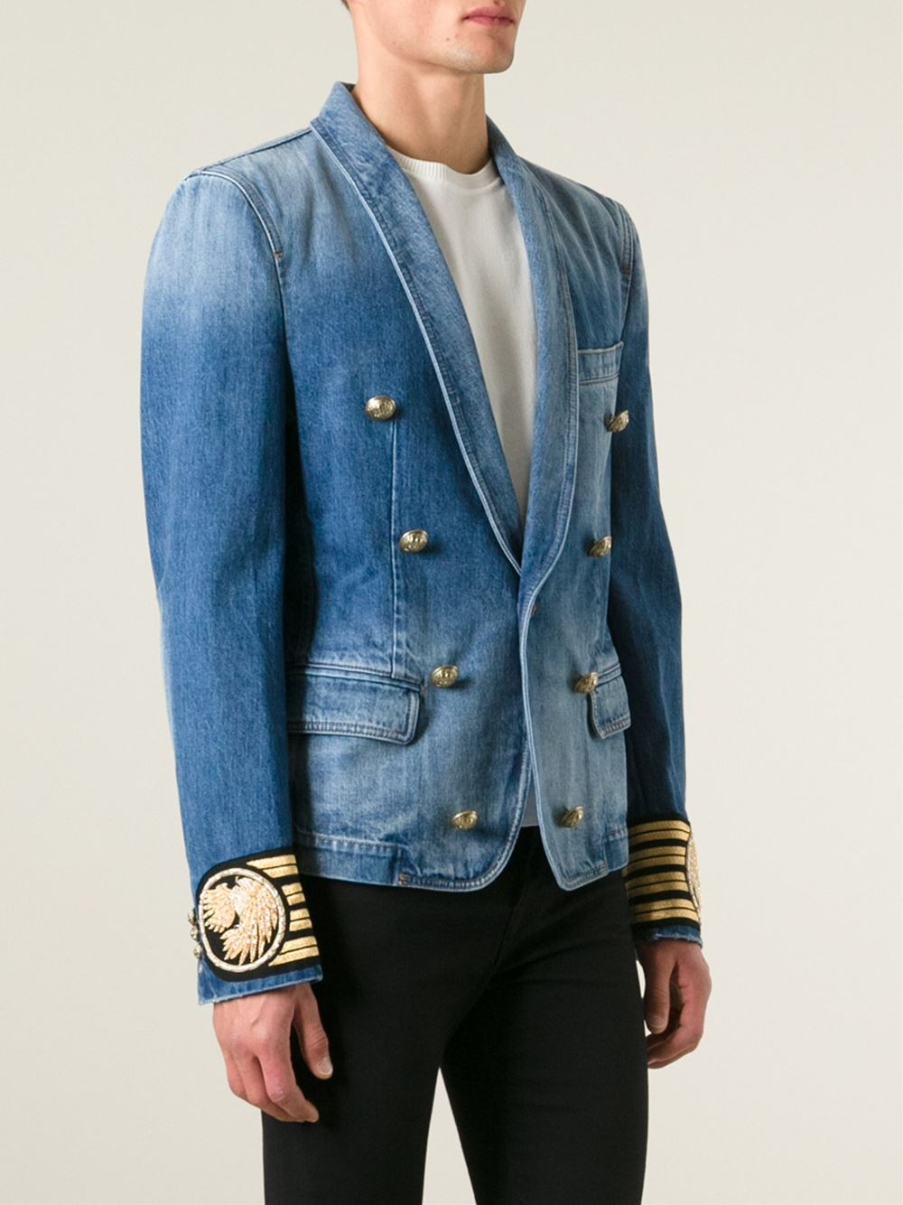 Lyst Balmain Denim Blazer In Blue For Men