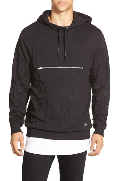 Cheap monday Creased Pullover Hoodie in Black for Men | Lyst