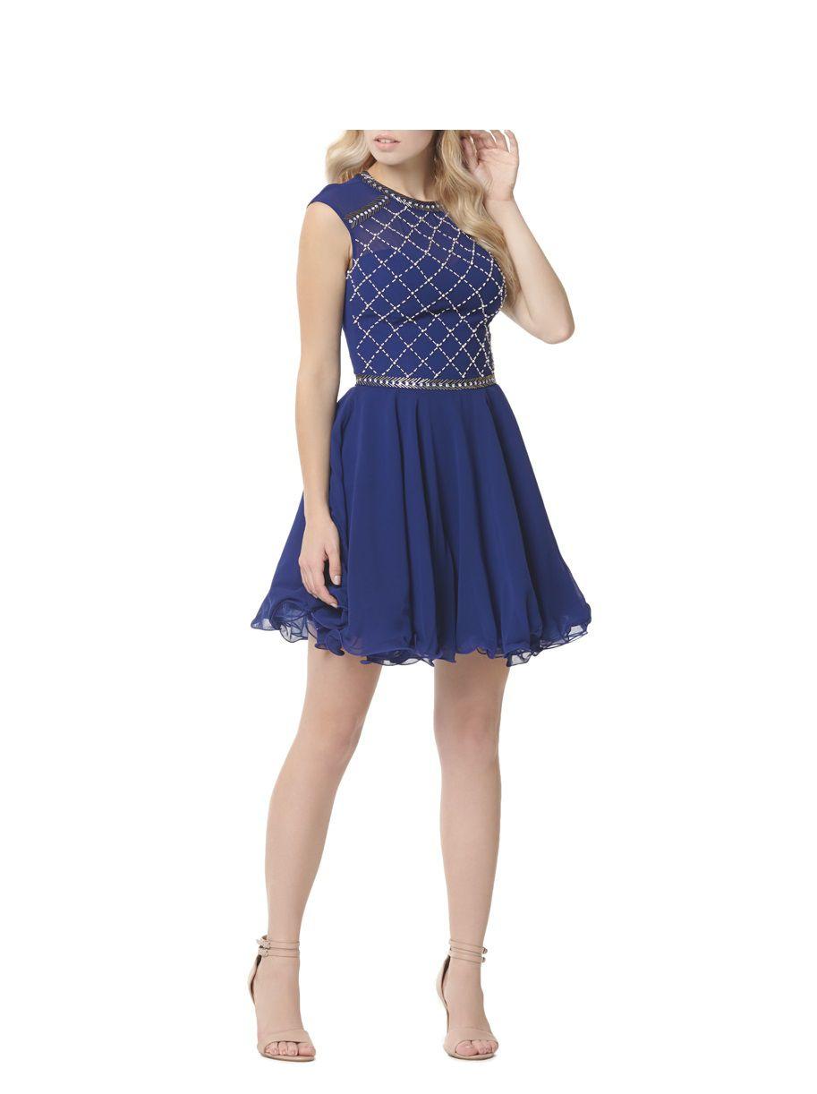chi chi beaded chiffon skater dress in blue lyst