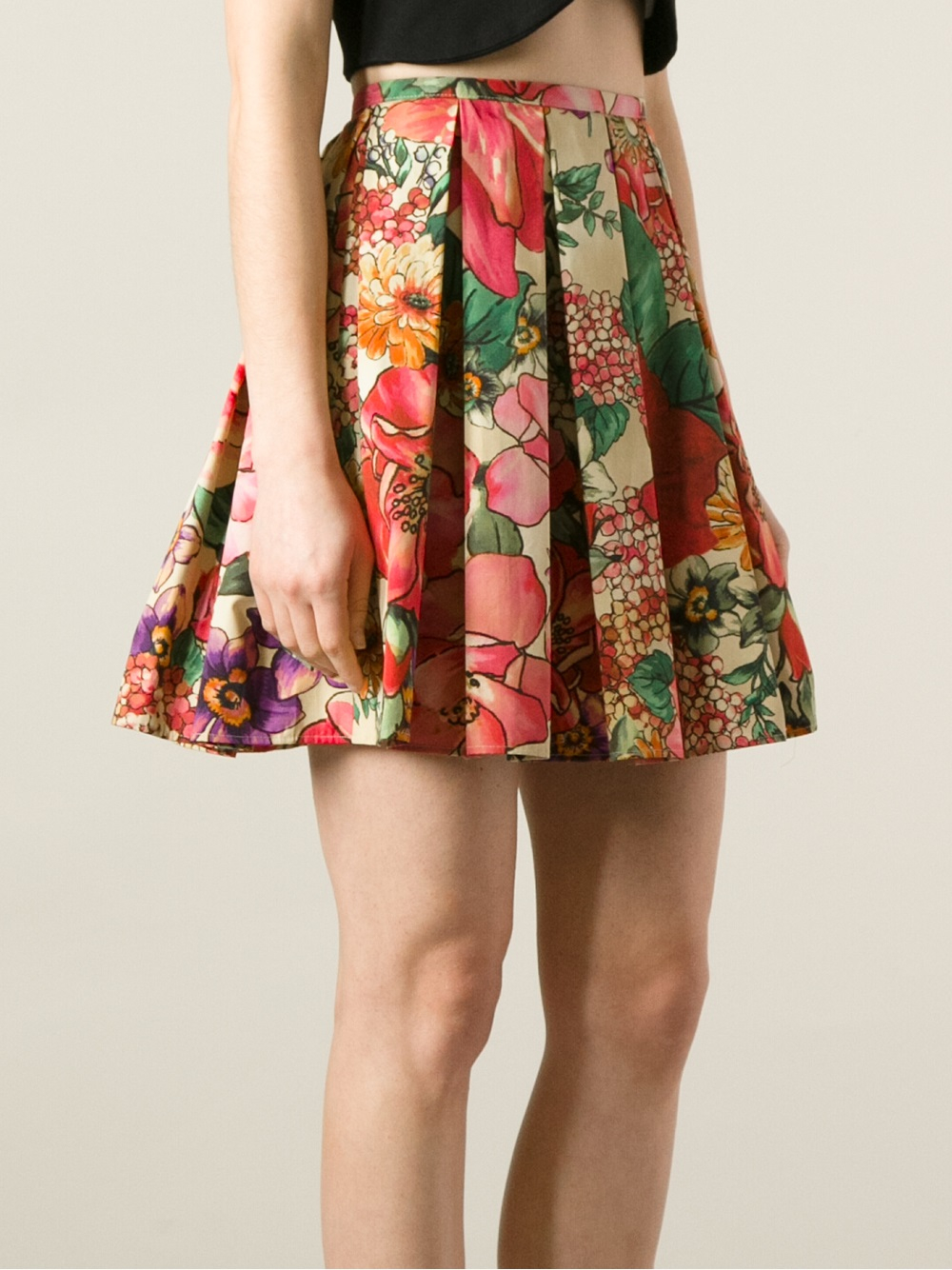 Red valentino Pleated Floral Skirt | Lyst