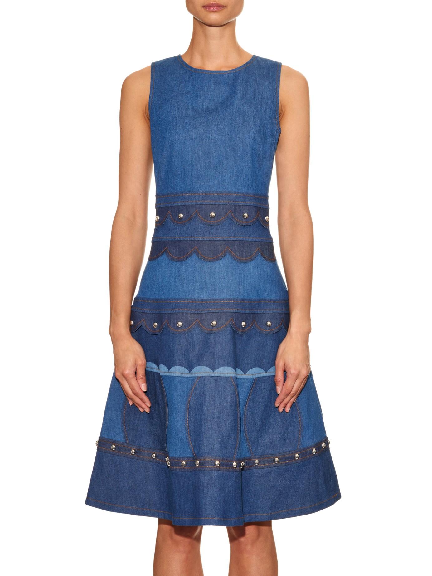 Red Valentino Studded Sleeveless Denim Dress In Blue Lyst