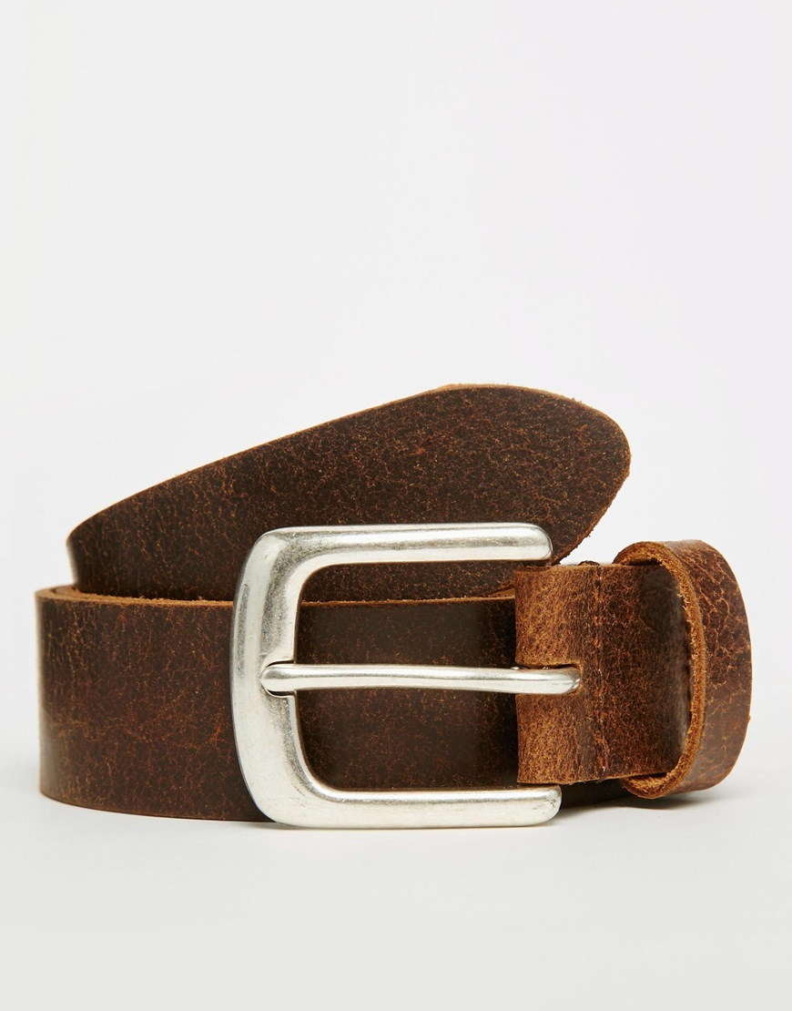 asos leather belt in brown with distressed finish in brown