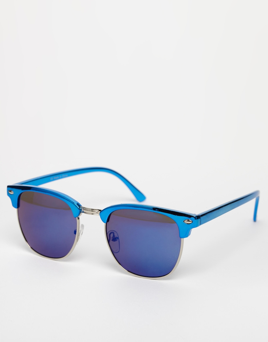 Lyst Asos Mirror Clubmaster Sunglasses In Blue For Men