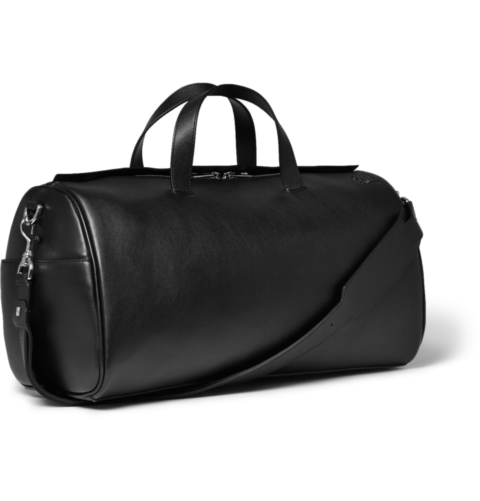 53235b00c8c1 Mens Black Leather Duffle Bag