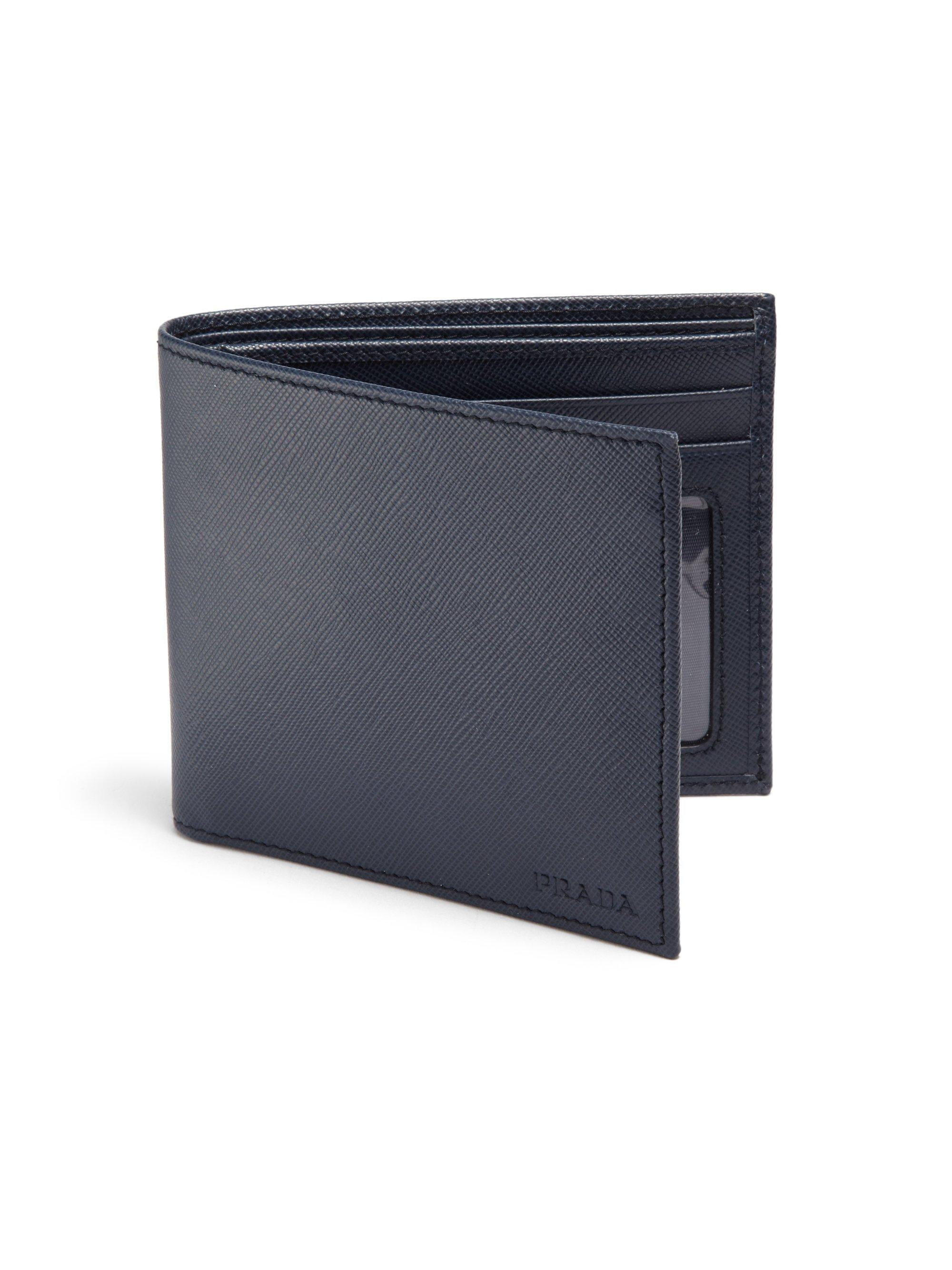 Prada Saffiano Leather Billfold Wallet in Black for Men | Lyst