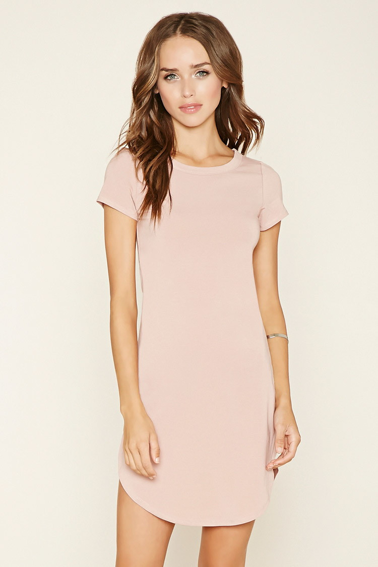 Lyst - Forever 21 Curved-hem T-shirt Dress in Pink