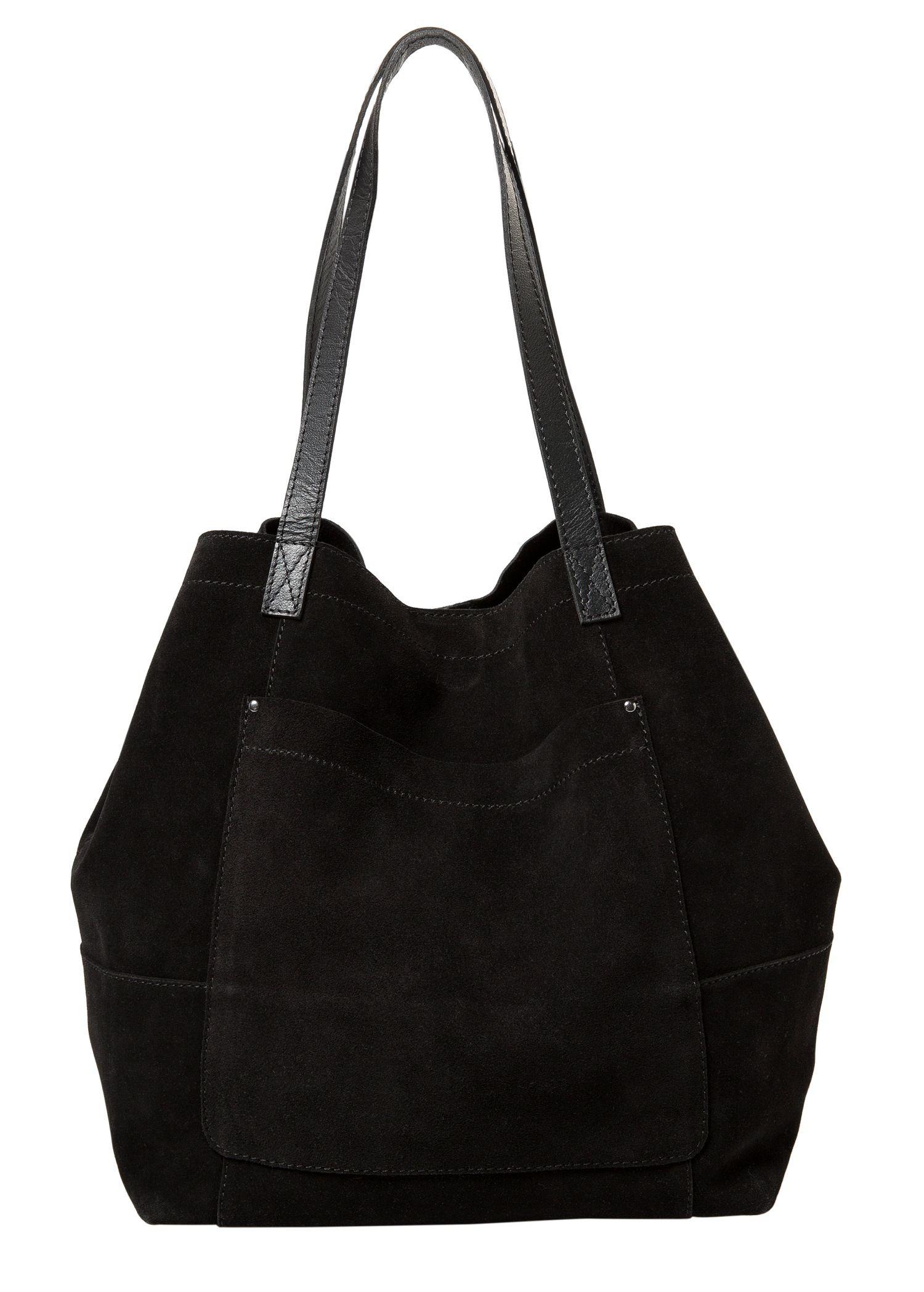 lyst mango suede shopper bag in black