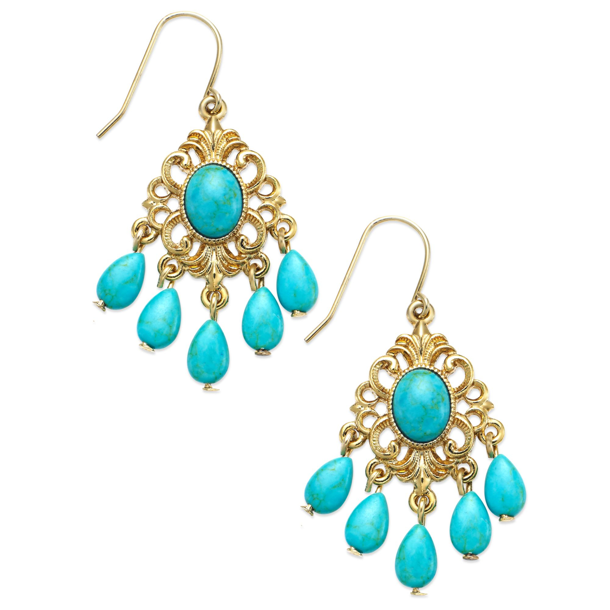 Chandelier turquoise earrings new cameroonbuild wallpaper 2018 chandelier turquoise earrings by gallery lyst lauren by ralph goldtone turquoise bead small aloadofball Image collections