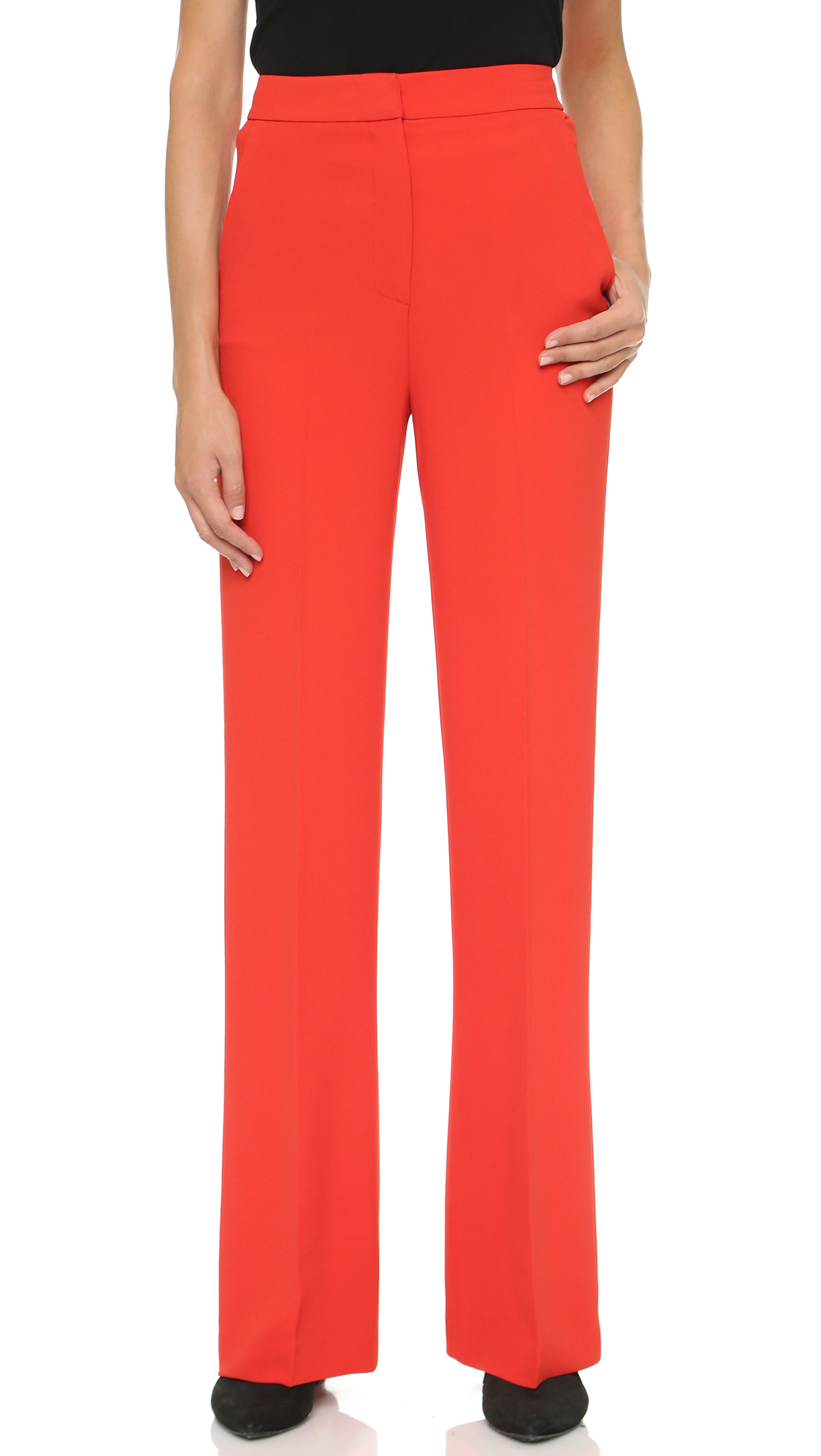 Msgm High Waisted Wide Leg Pants - Red in Red | Lyst