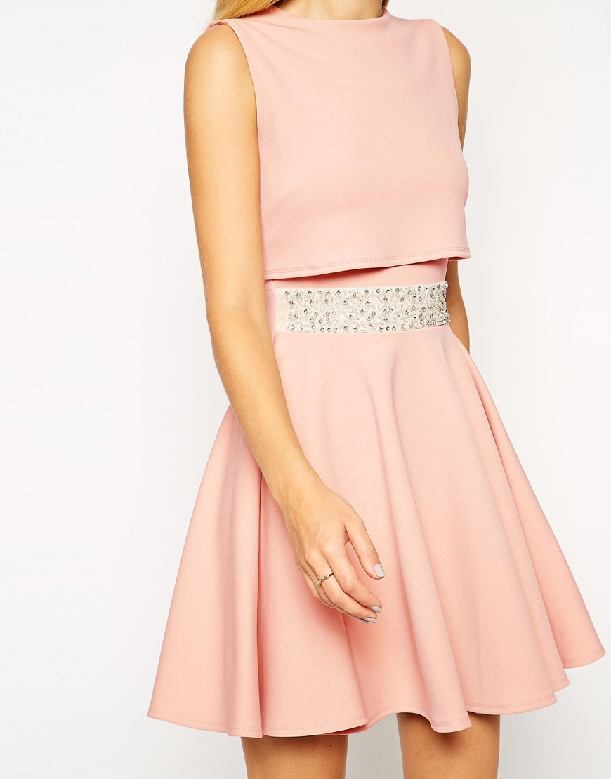 660c700aa7 ASOS Skater Dress With Embellished Waist And Crop Top in Black - Lyst