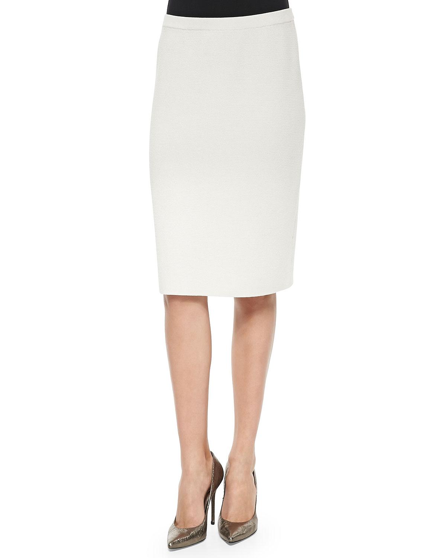 eileen fisher knee length silk cotton skirt in white lyst