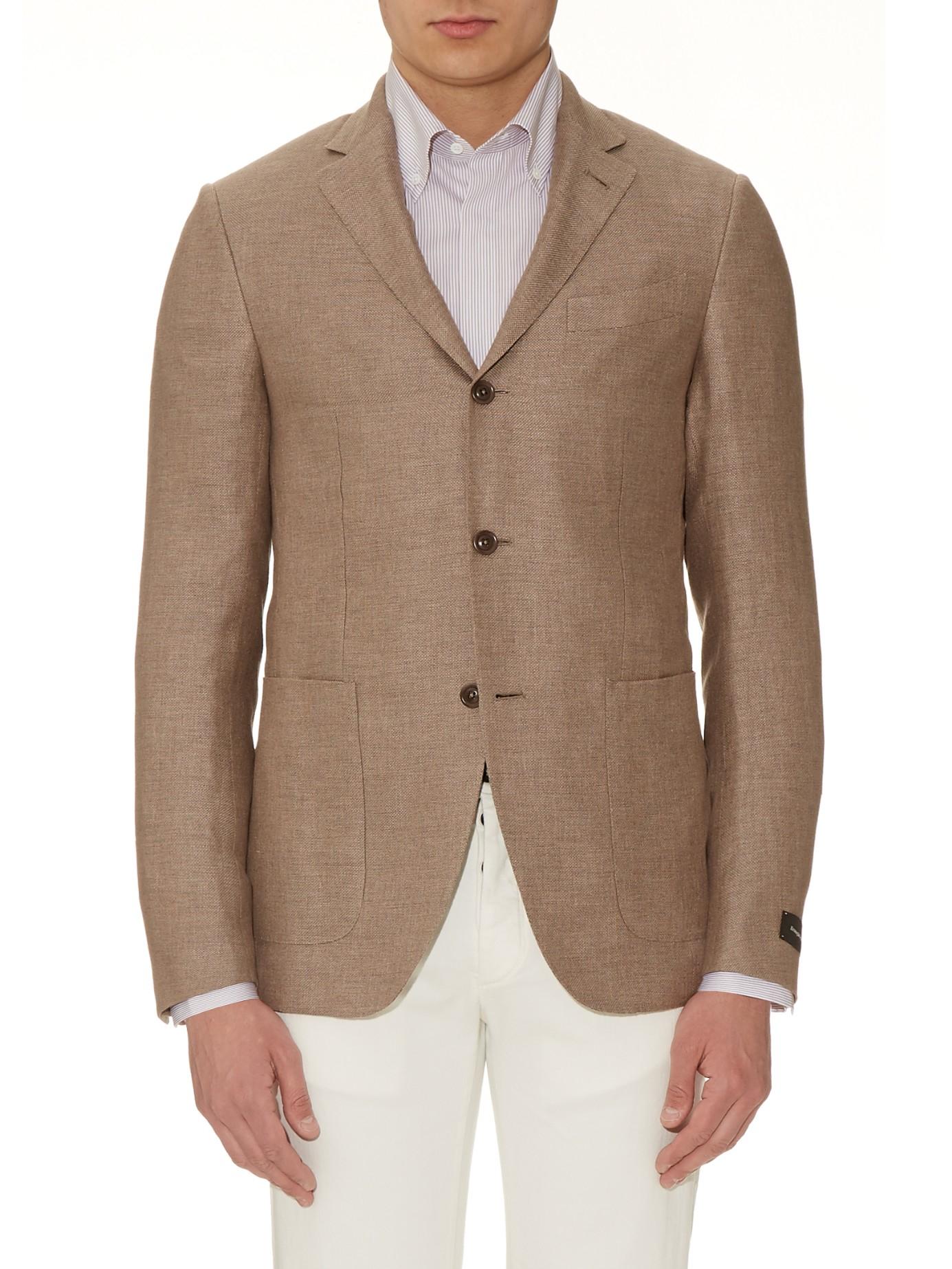 48570651 Ermenegildo Zegna Natural Milano Easy Silk And Linen-blend Blazer for men