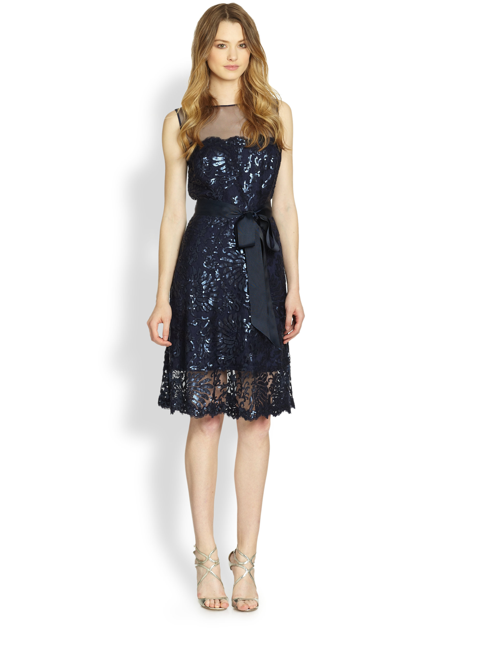 Tadashi Shoji Sequin Lace Bow Dress In Blue Lyst
