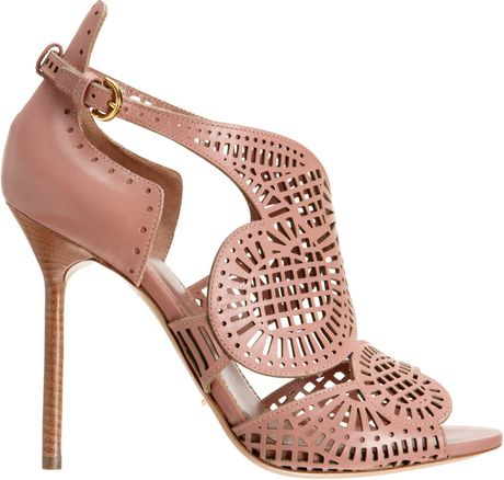 Sergio Rossi Laser Cut Sandal in Pink (Antique Rose)