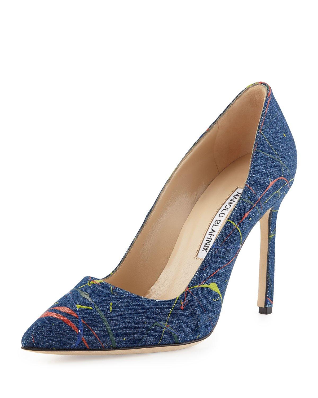Lyst manolo blahnik bb paint splatter pumps in blue for Shoes by manolo blahnik