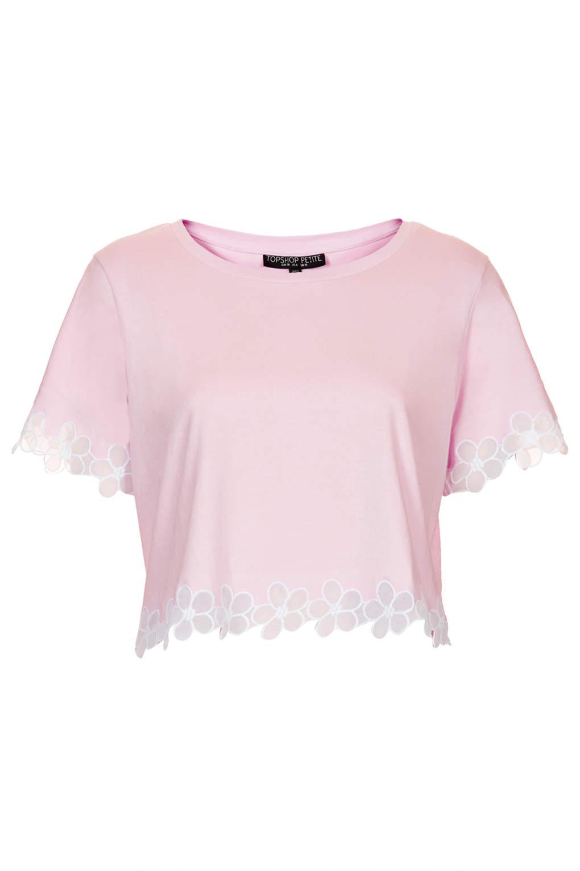 1d07a300d9079e Lyst - TOPSHOP Petite Daisy Organza Tee in Pink