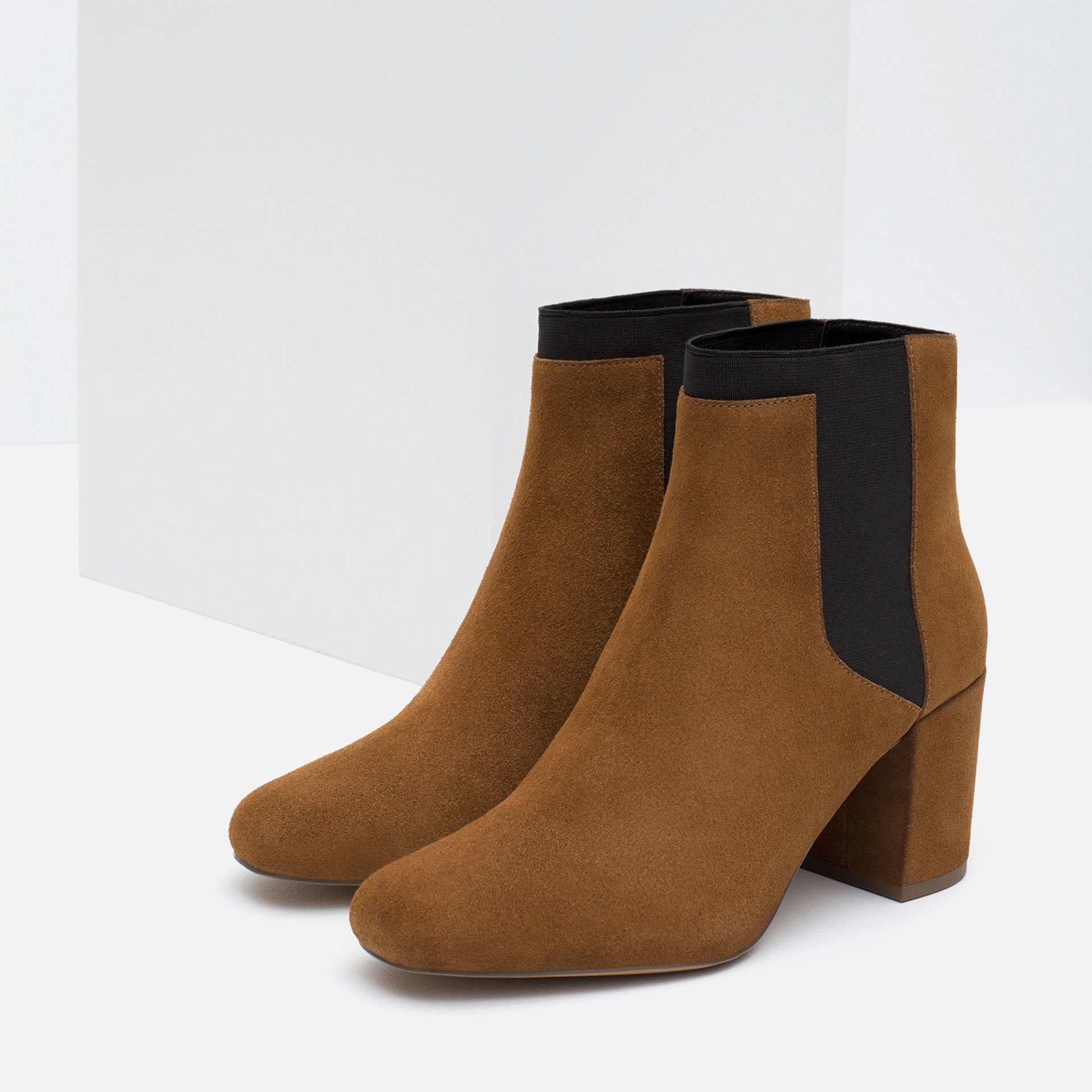 zara high heel ankle boots with elastic in brown lyst