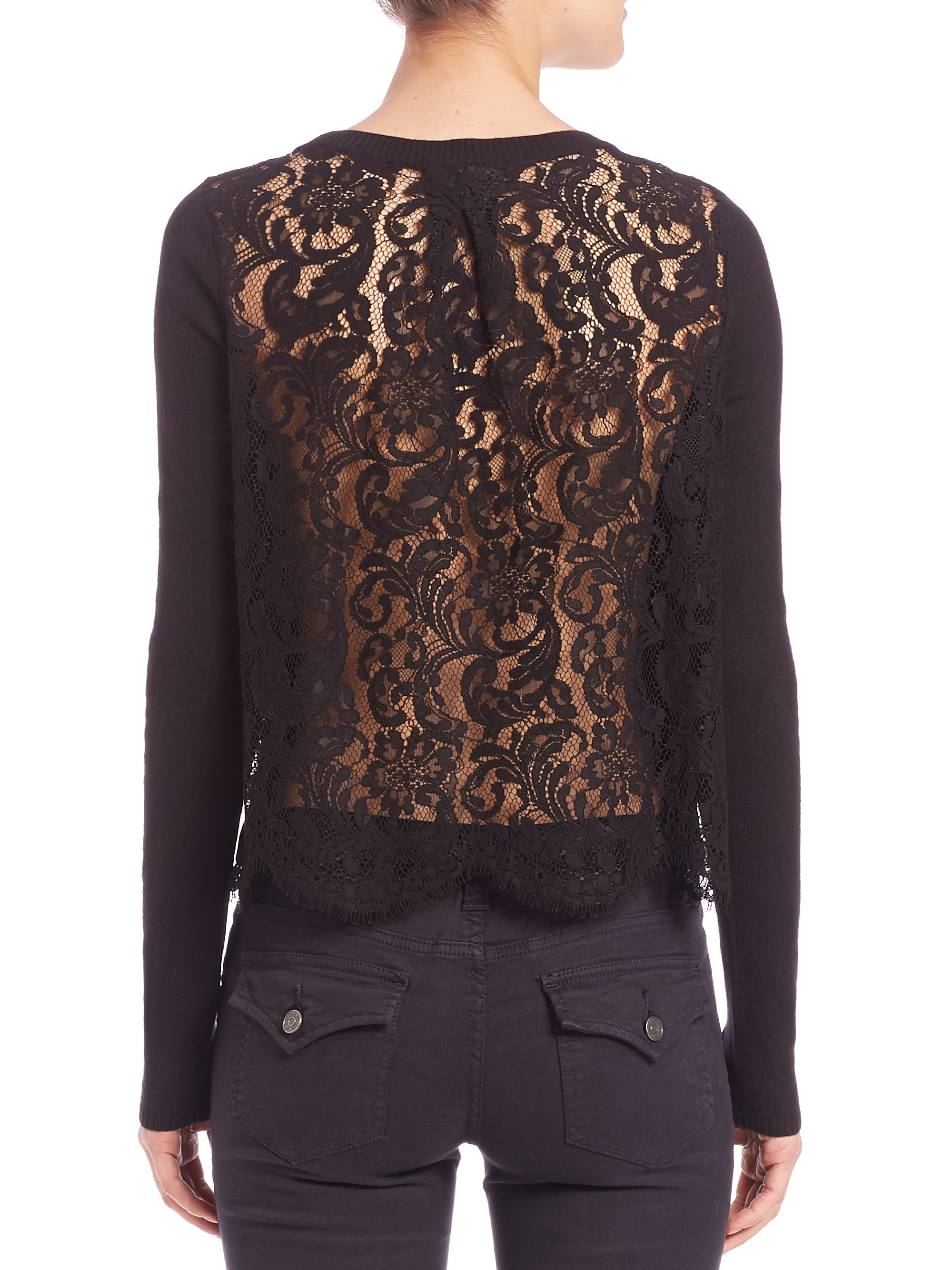 Joie Matrika Lace-back Sweater in Black | Lyst