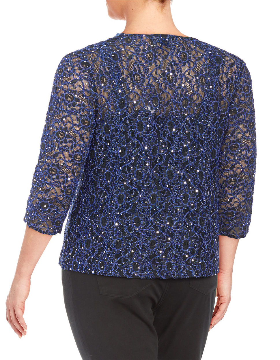 Alex evenings Plus Sequin Cardigan Set in Blue | Lyst