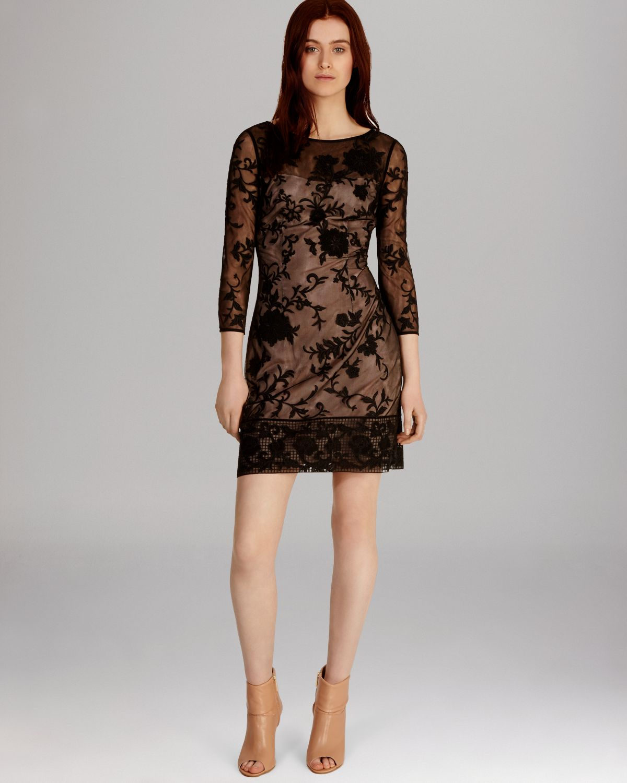Lyst Karen Millen Dress Modern Floral Embroidered Tulle