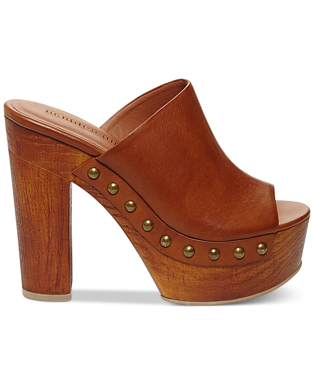 a93f8ab60ac7 Lyst - Madden Girl Merry Wooden Platform Mules in Brown
